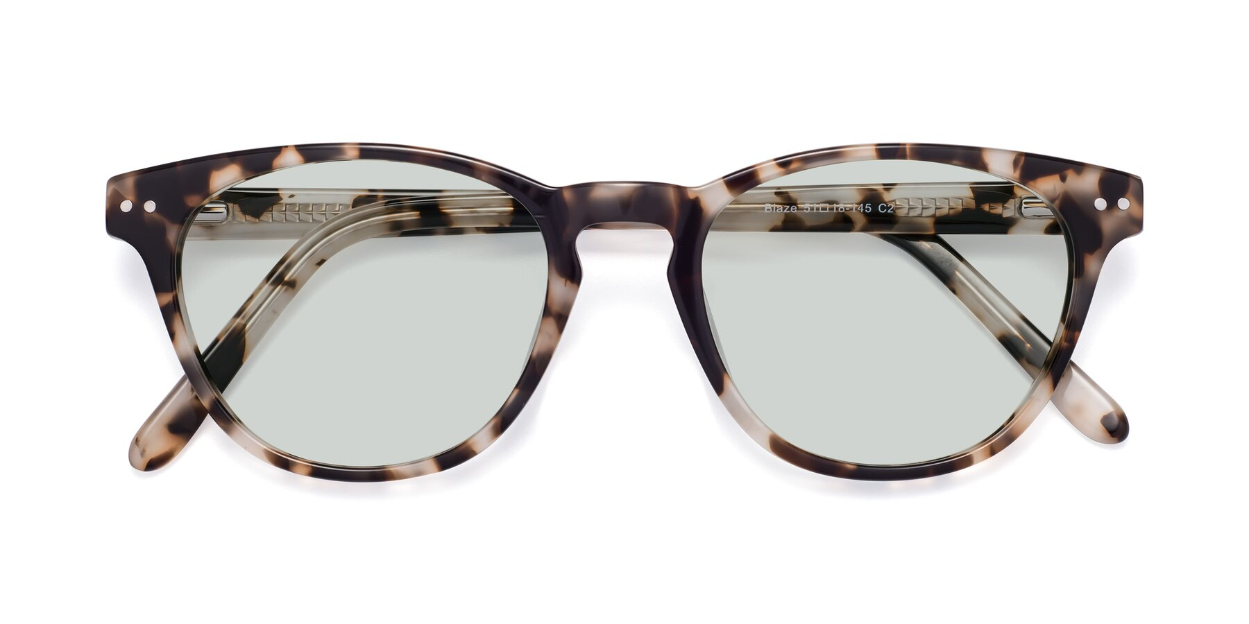 Folded Front of Blaze in Tortoise with Light Green Tinted Lenses
