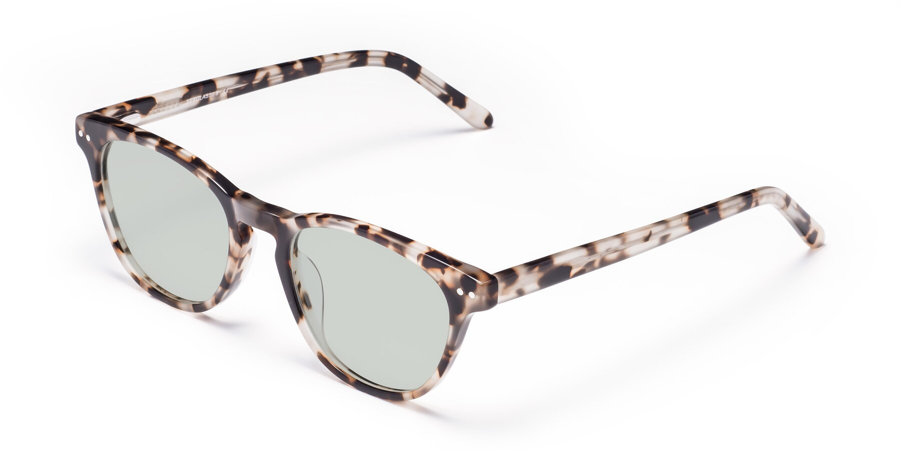 Angle of Blaze in Tortoise with Light Green Tinted Lenses