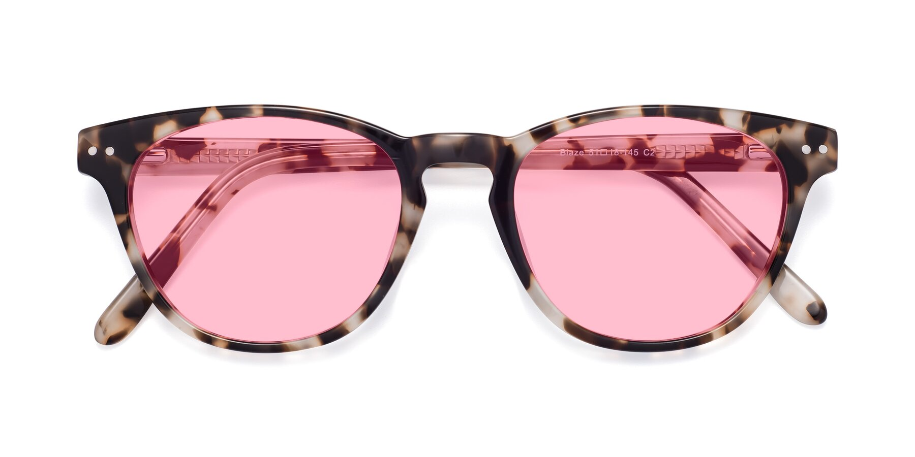 Folded Front of Blaze in Tortoise with Medium Pink Tinted Lenses