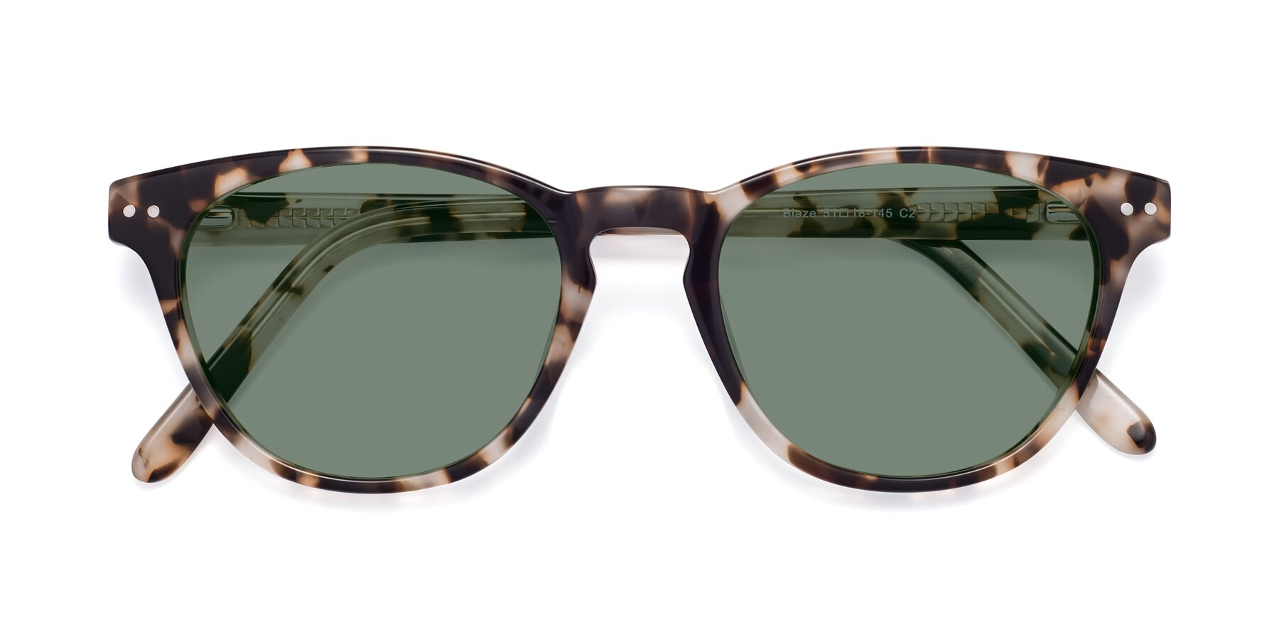 Folded Front of Blaze in Tortoise with Medium Green Tinted Lenses