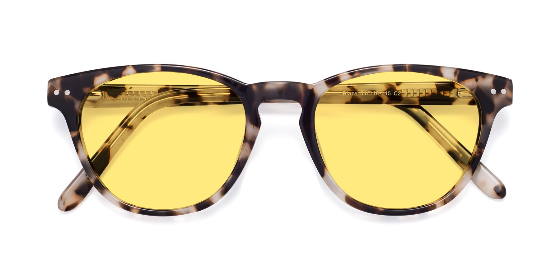 Folded Front of Blaze in Tortoise with Medium Yellow Tinted Lenses