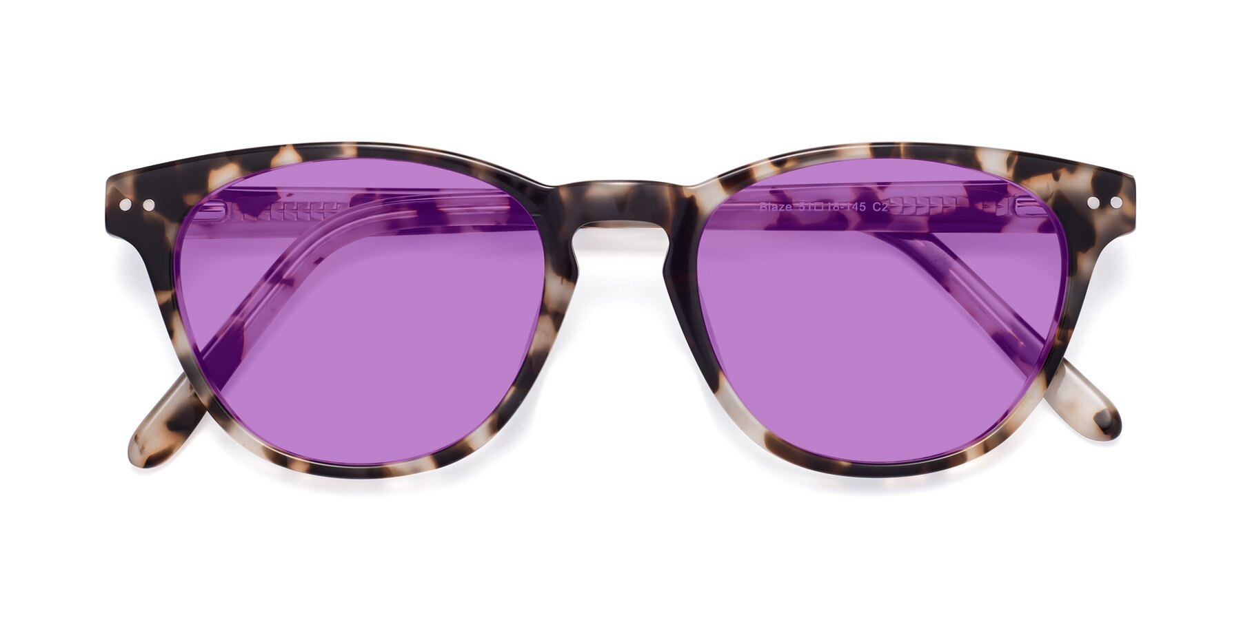 Folded Front of Blaze in Tortoise with Medium Purple Tinted Lenses