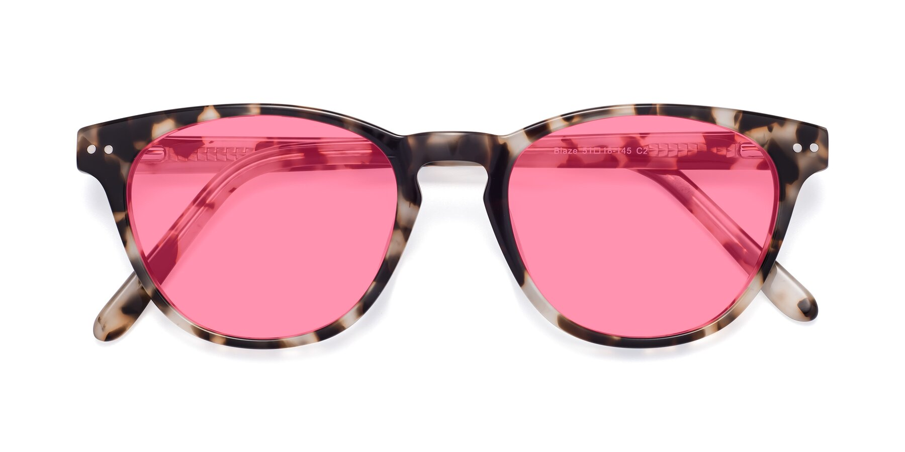 Folded Front of Blaze in Tortoise with Pink Tinted Lenses
