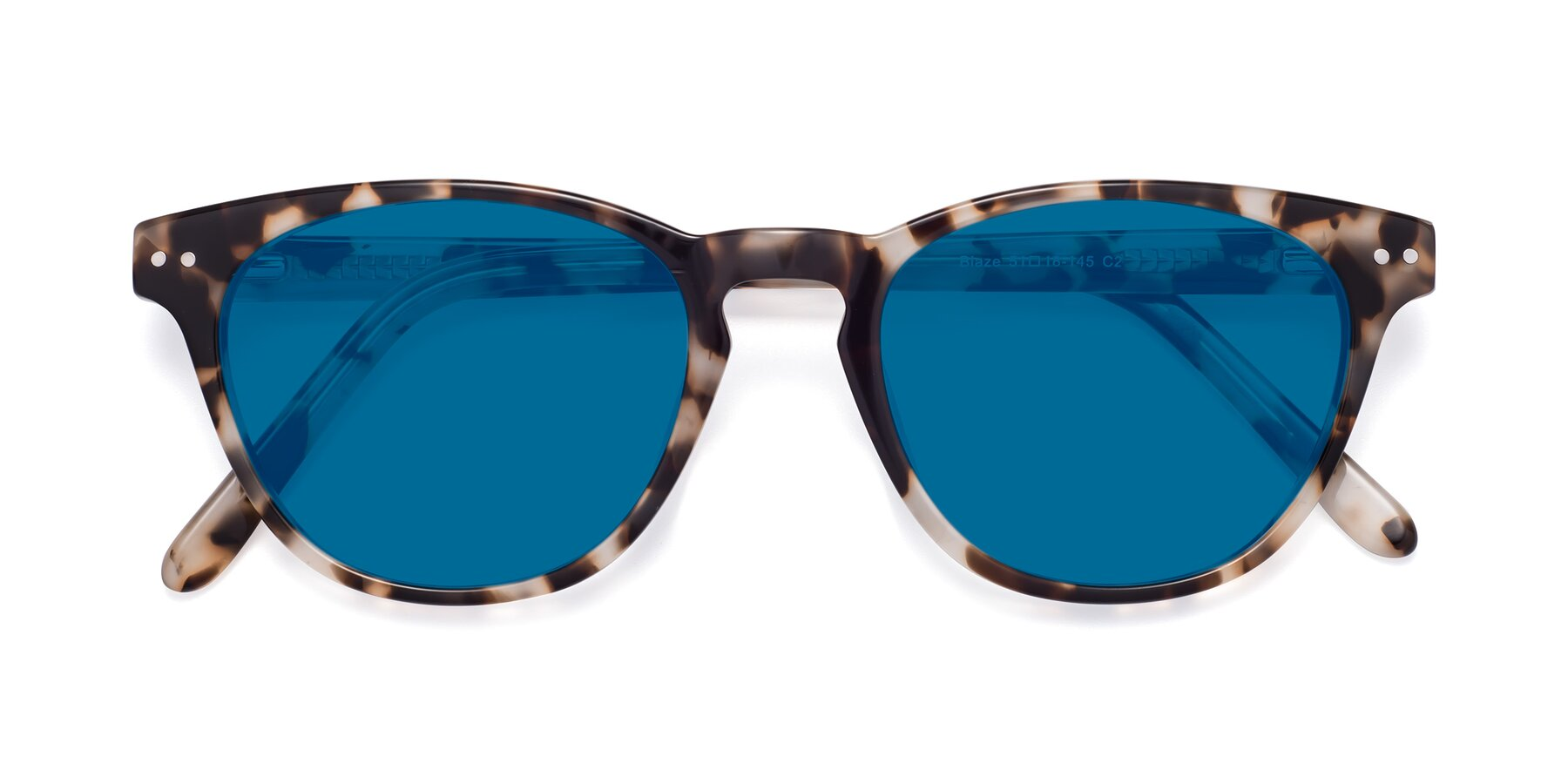 Folded Front of Blaze in Tortoise with Blue Tinted Lenses