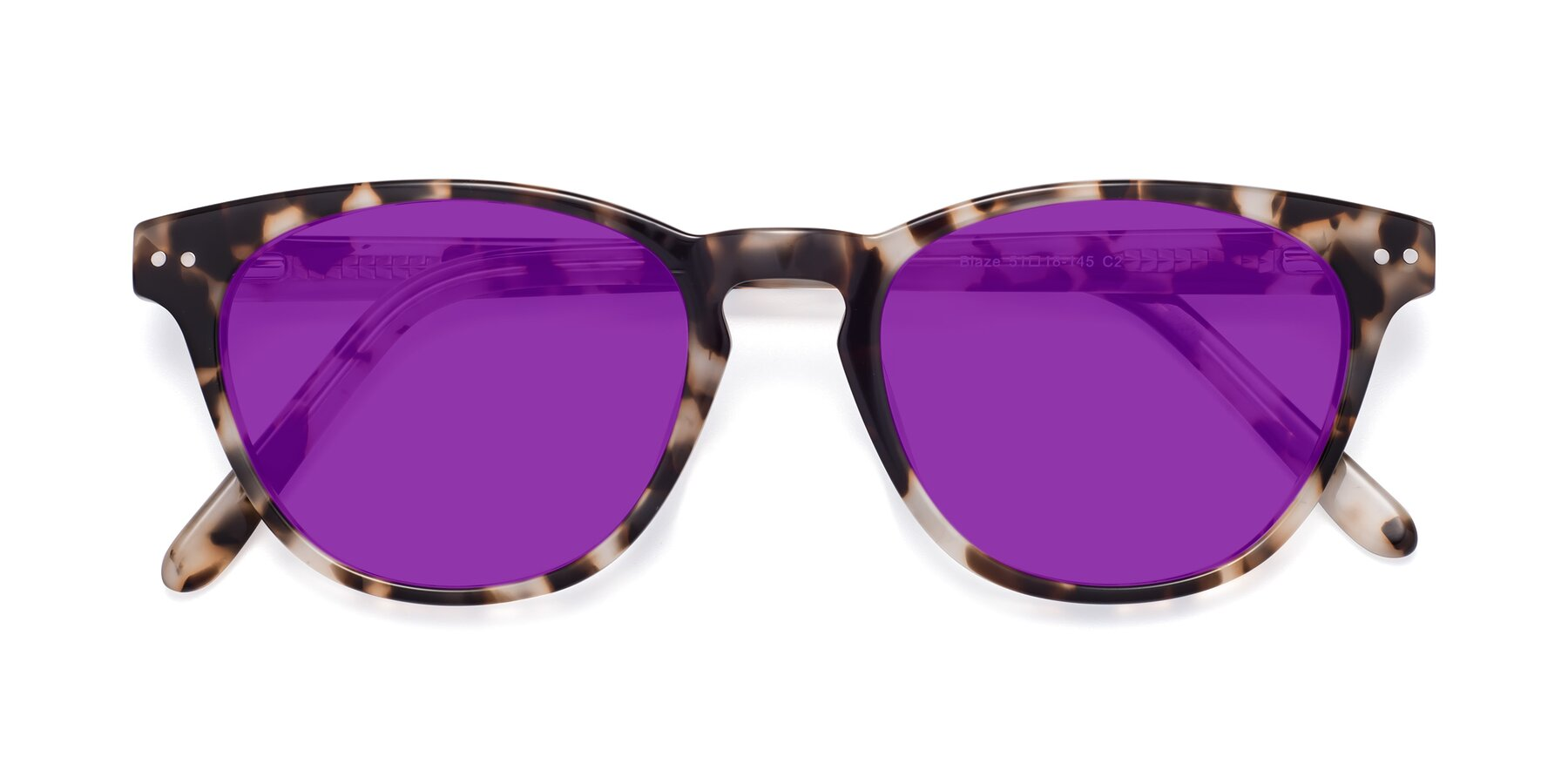 Folded Front of Blaze in Tortoise with Purple Tinted Lenses