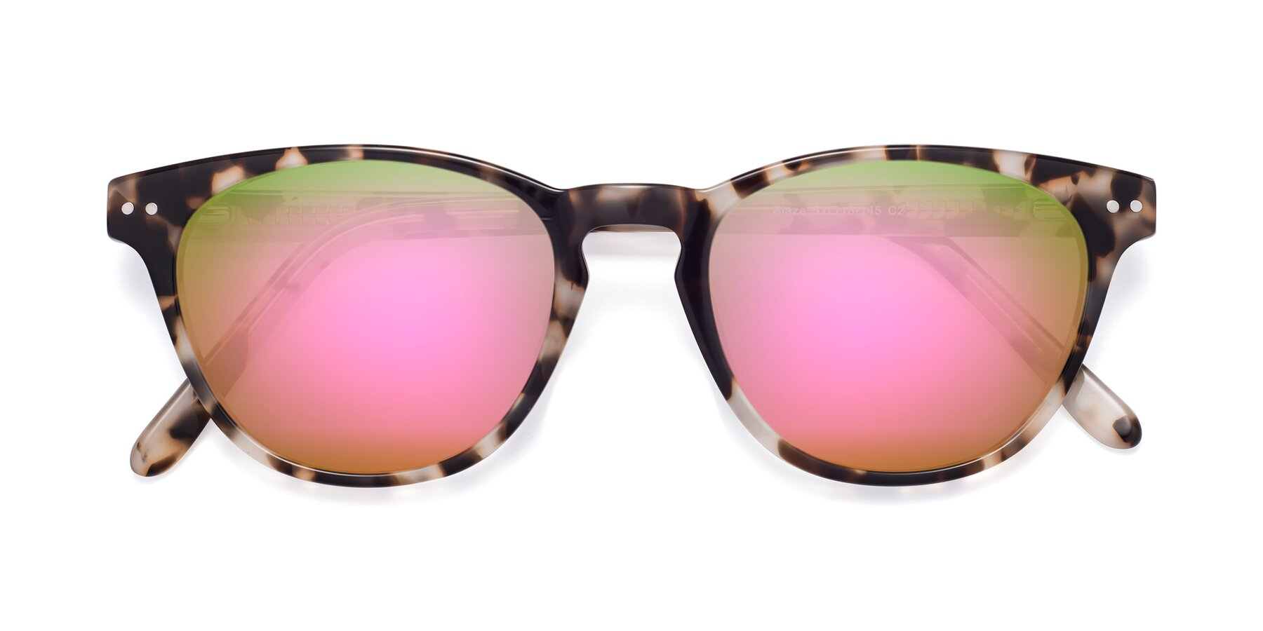 Folded Front of Blaze in Tortoise with Pink Mirrored Lenses