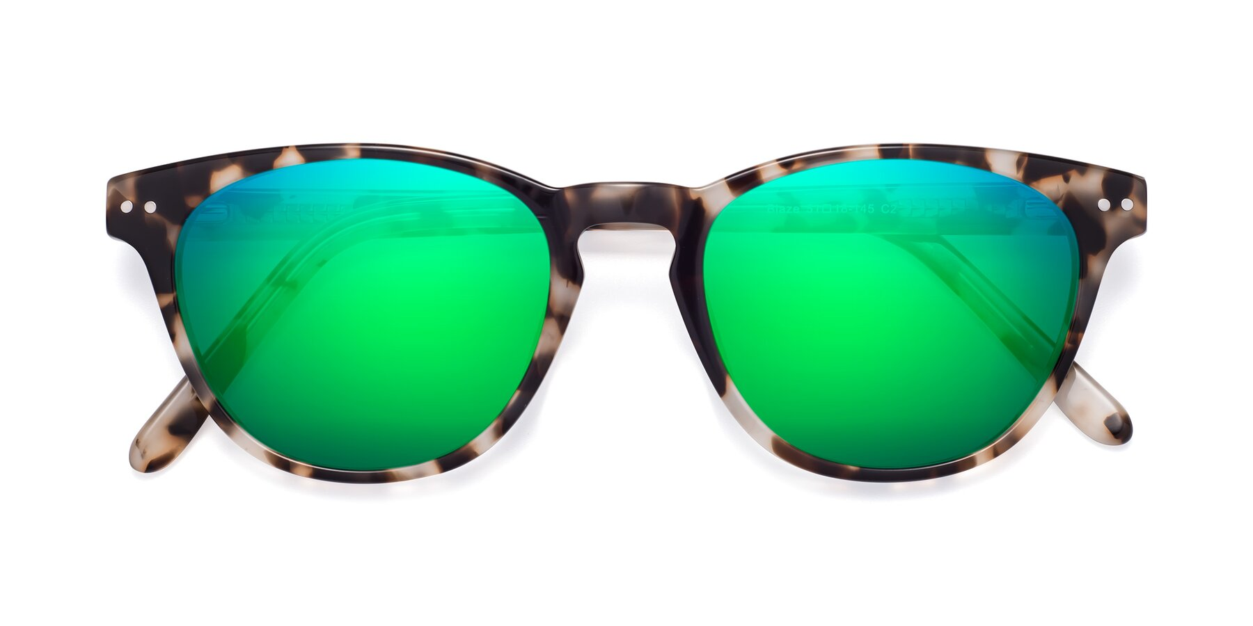 Folded Front of Blaze in Tortoise with Green Mirrored Lenses