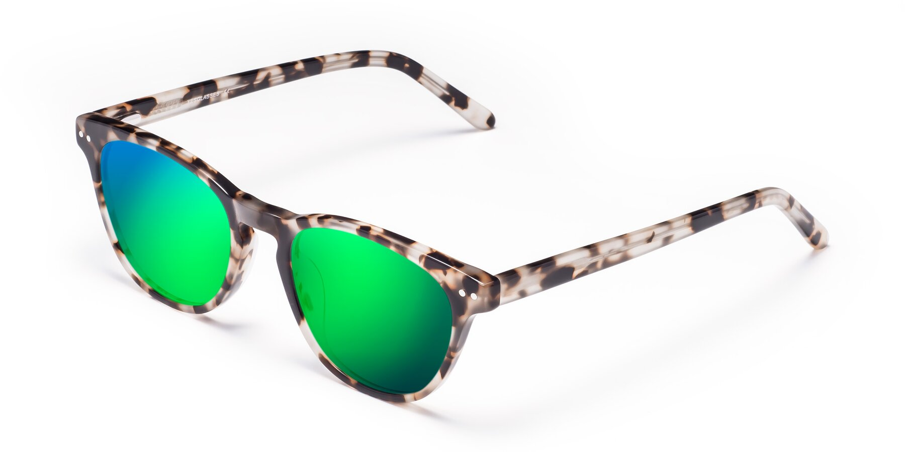 Angle of Blaze in Tortoise with Green Mirrored Lenses