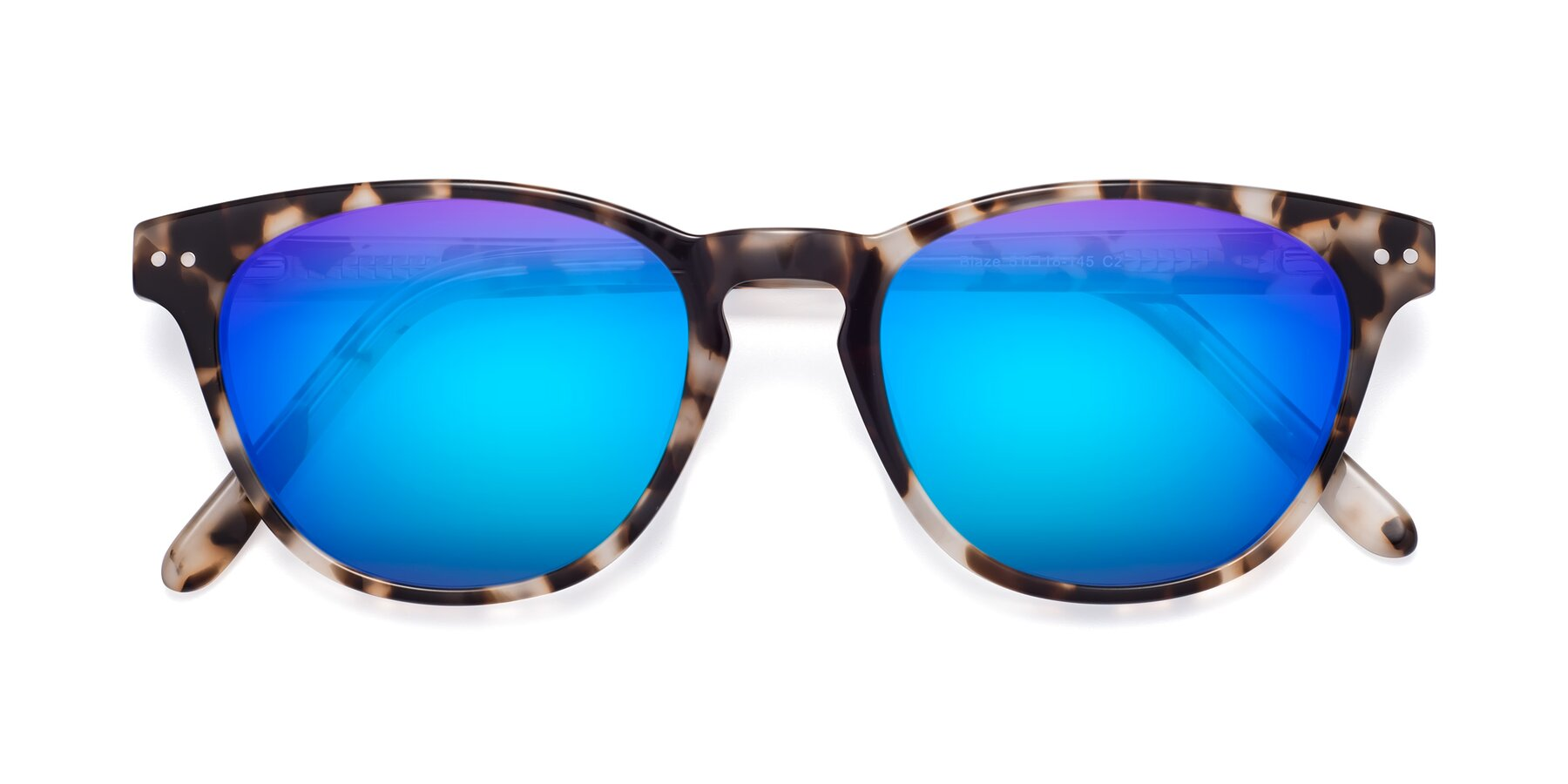 Folded Front of Blaze in Tortoise with Blue Mirrored Lenses