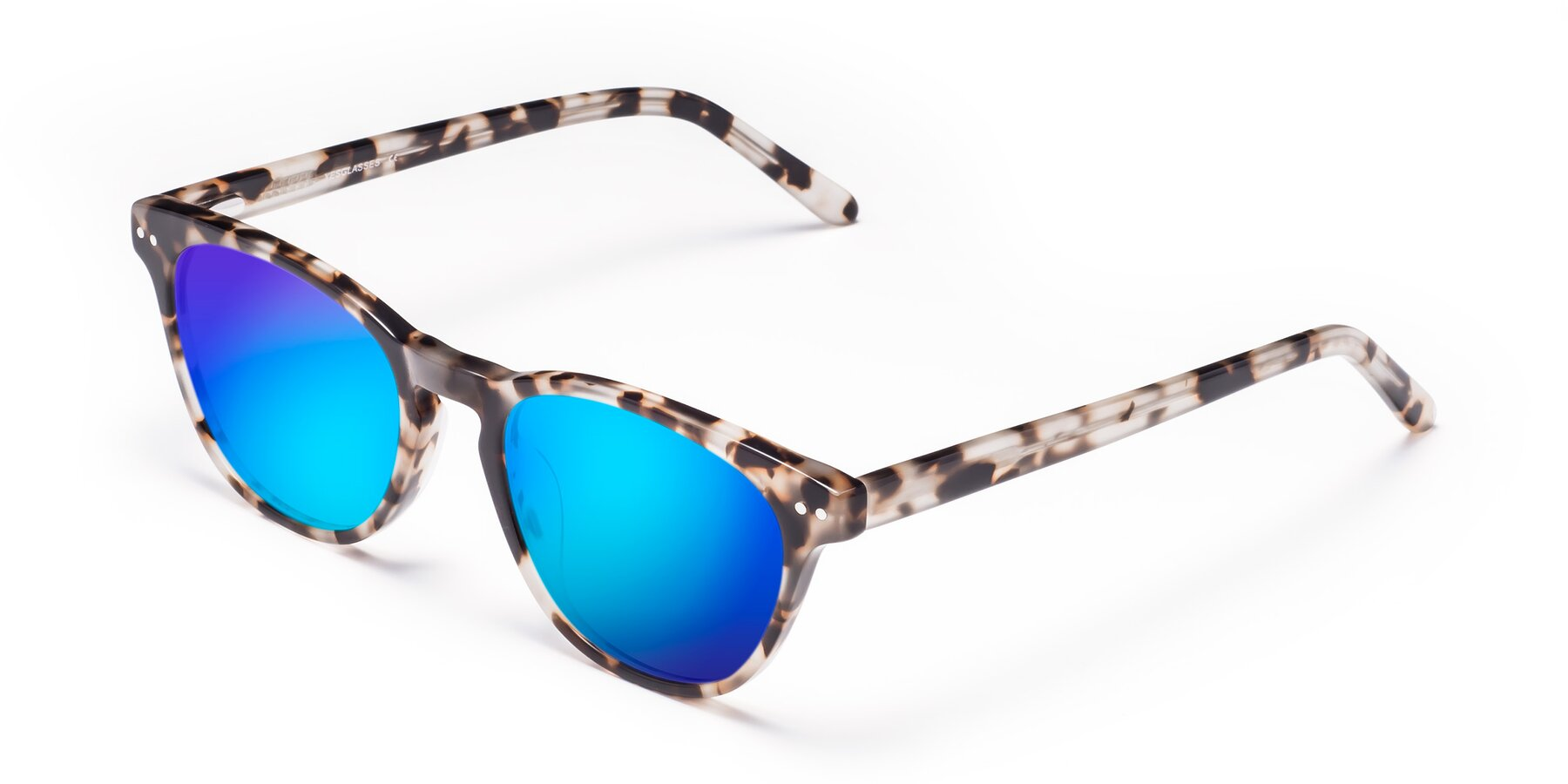 Angle of Blaze in Tortoise with Blue Mirrored Lenses
