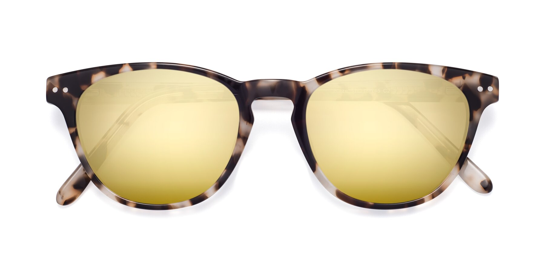 Folded Front of Blaze in Tortoise with Gold Mirrored Lenses
