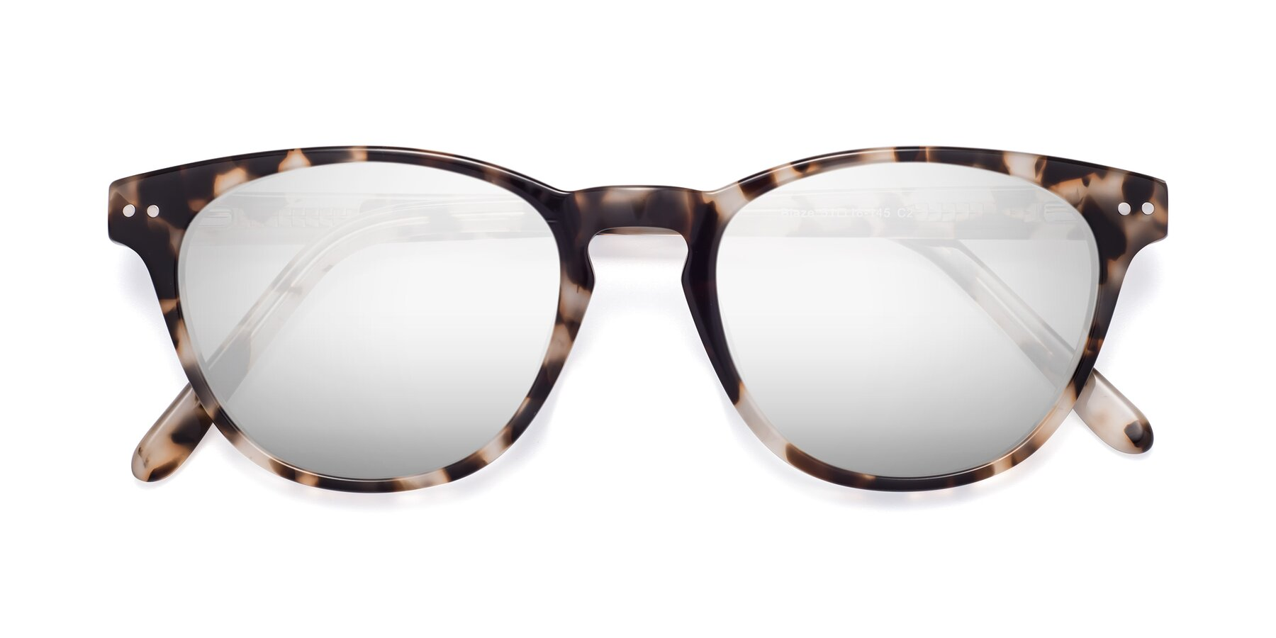 Folded Front of Blaze in Tortoise with Silver Mirrored Lenses