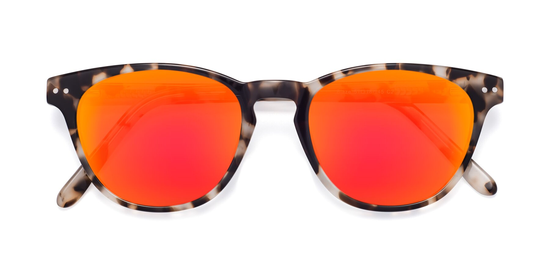 Folded Front of Blaze in Tortoise with Red Gold Mirrored Lenses