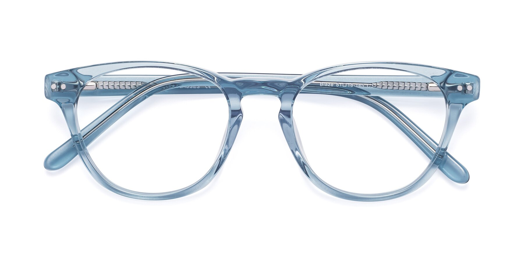 Folded Front of Blaze in Light Blue with Clear Eyeglass Lenses