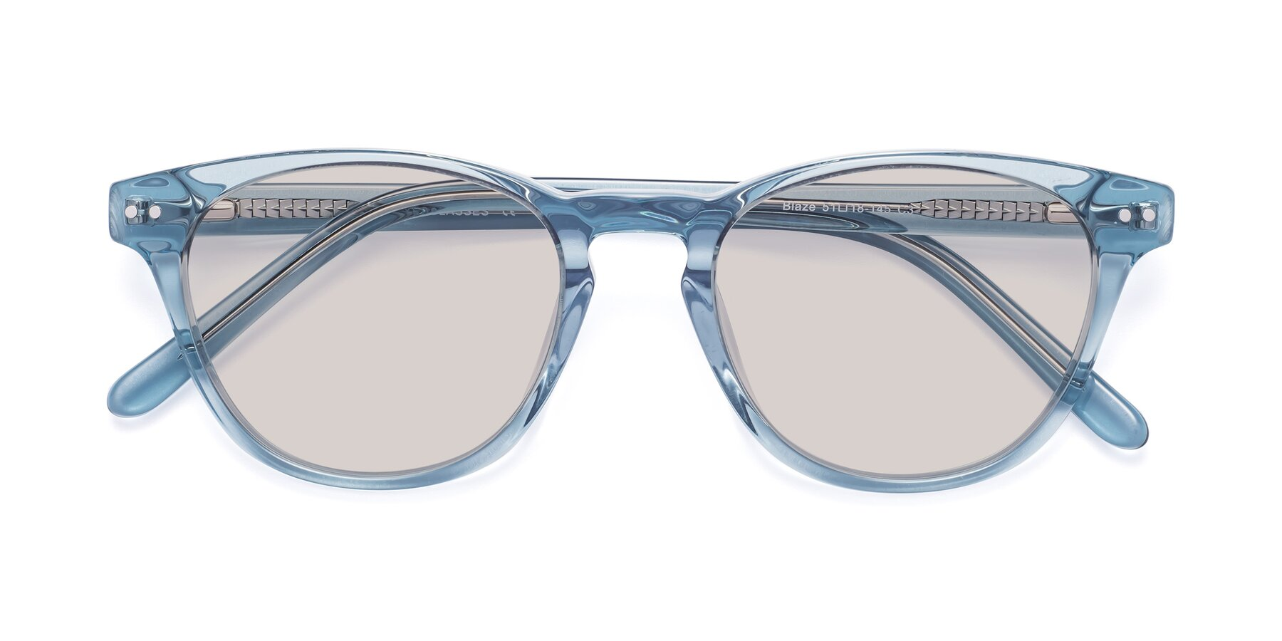 Folded Front of Blaze in Light Blue with Light Brown Tinted Lenses