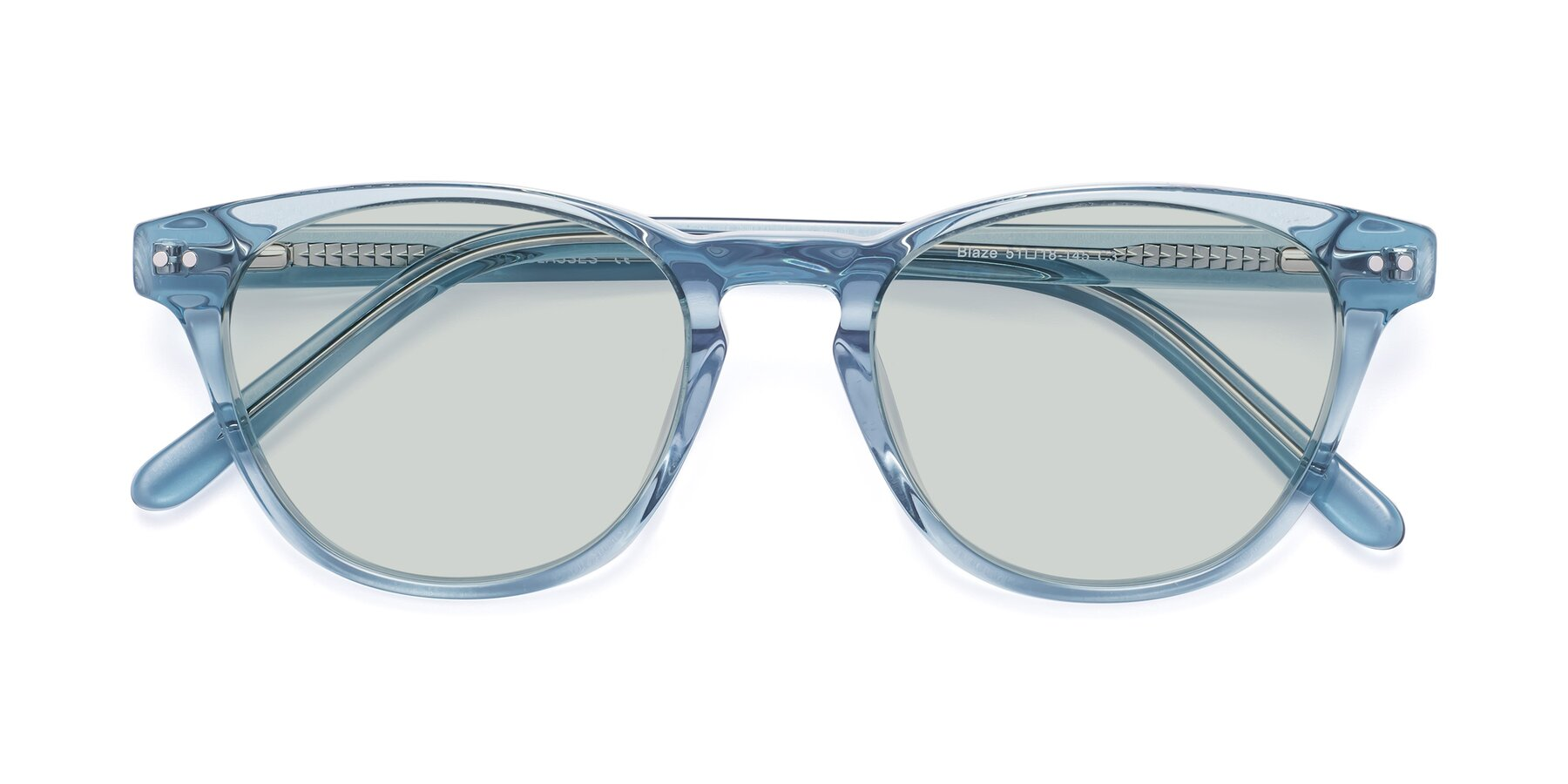 Folded Front of Blaze in Light Blue with Light Green Tinted Lenses