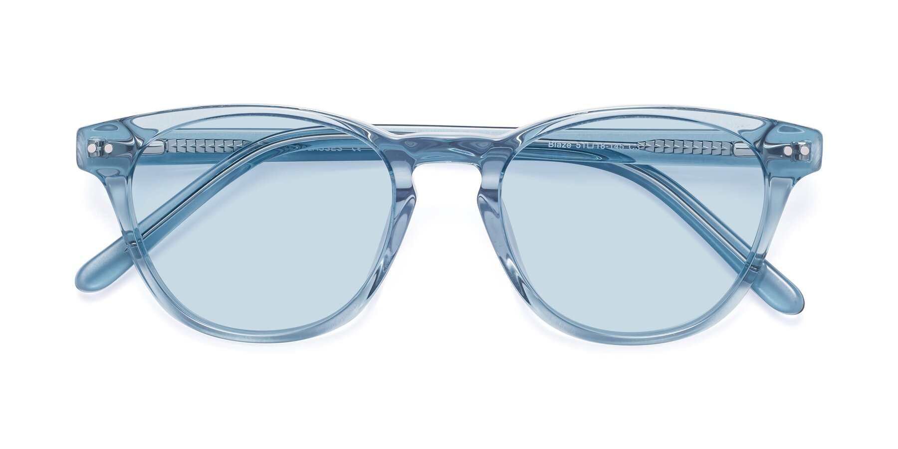 Folded Front of Blaze in Light Blue with Light Blue Tinted Lenses