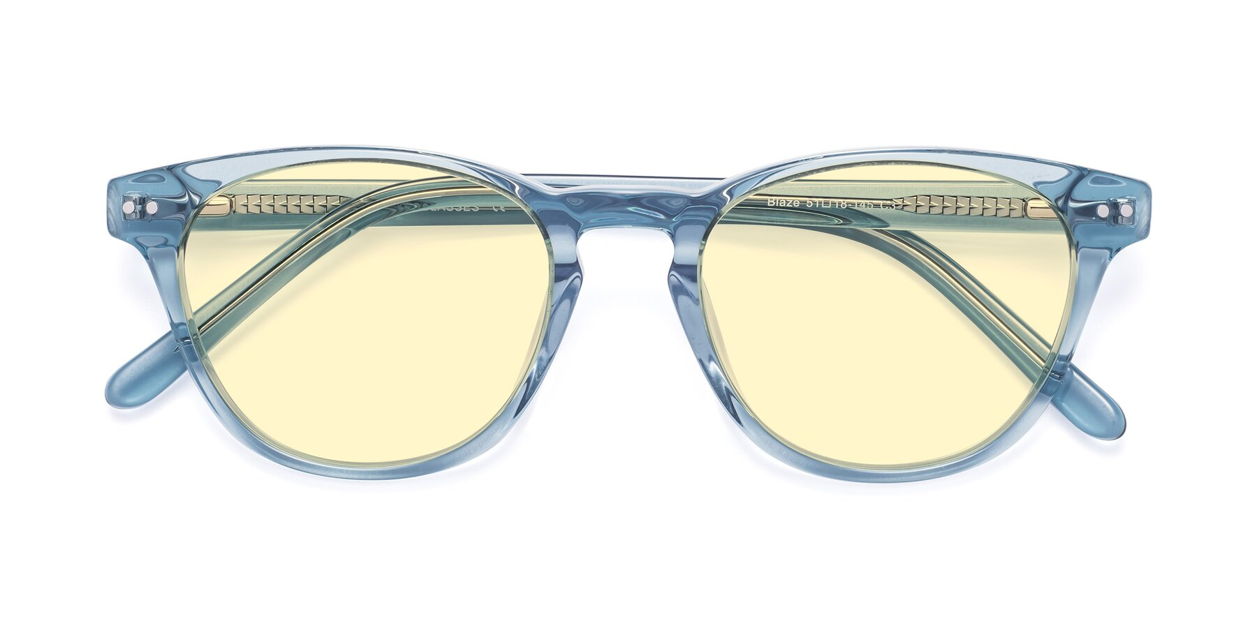 Folded Front of Blaze in Light Blue with Light Yellow Tinted Lenses