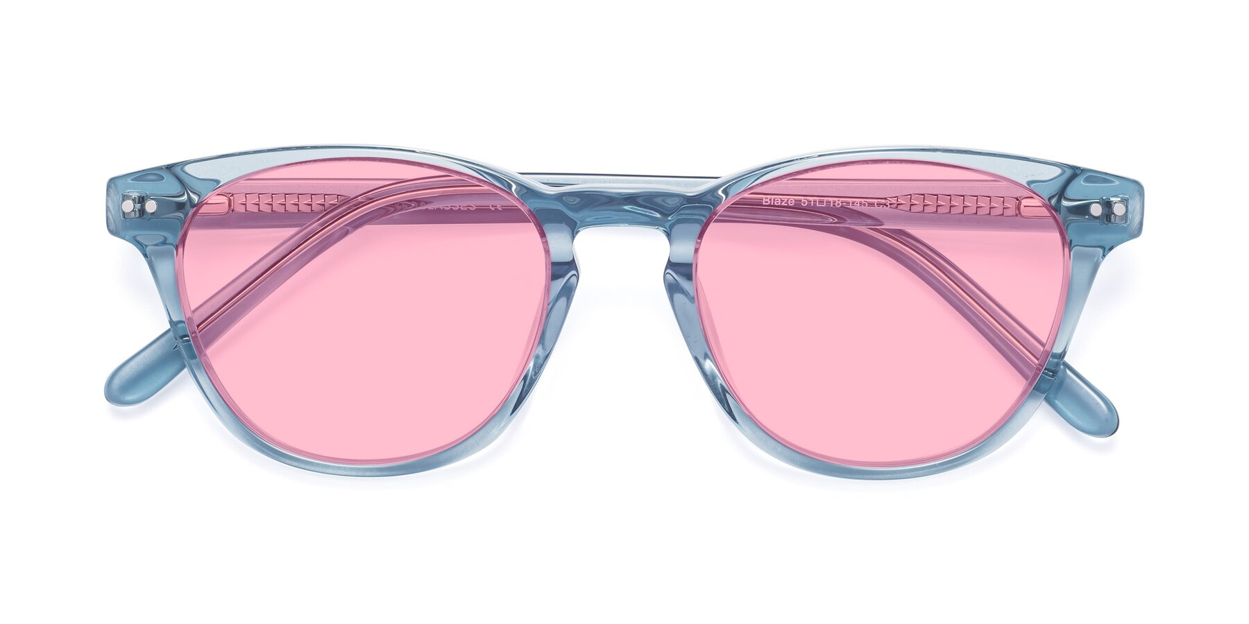 Folded Front of Blaze in Light Blue with Medium Pink Tinted Lenses
