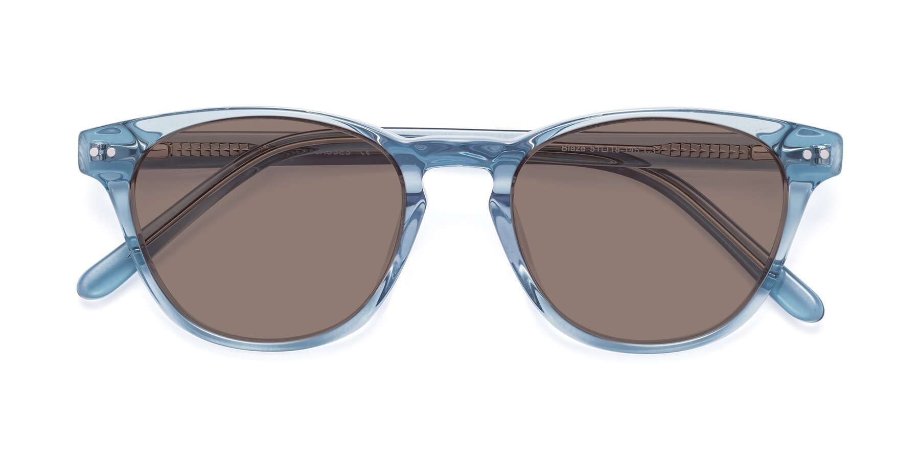 Folded Front of Blaze in Light Blue with Medium Brown Tinted Lenses
