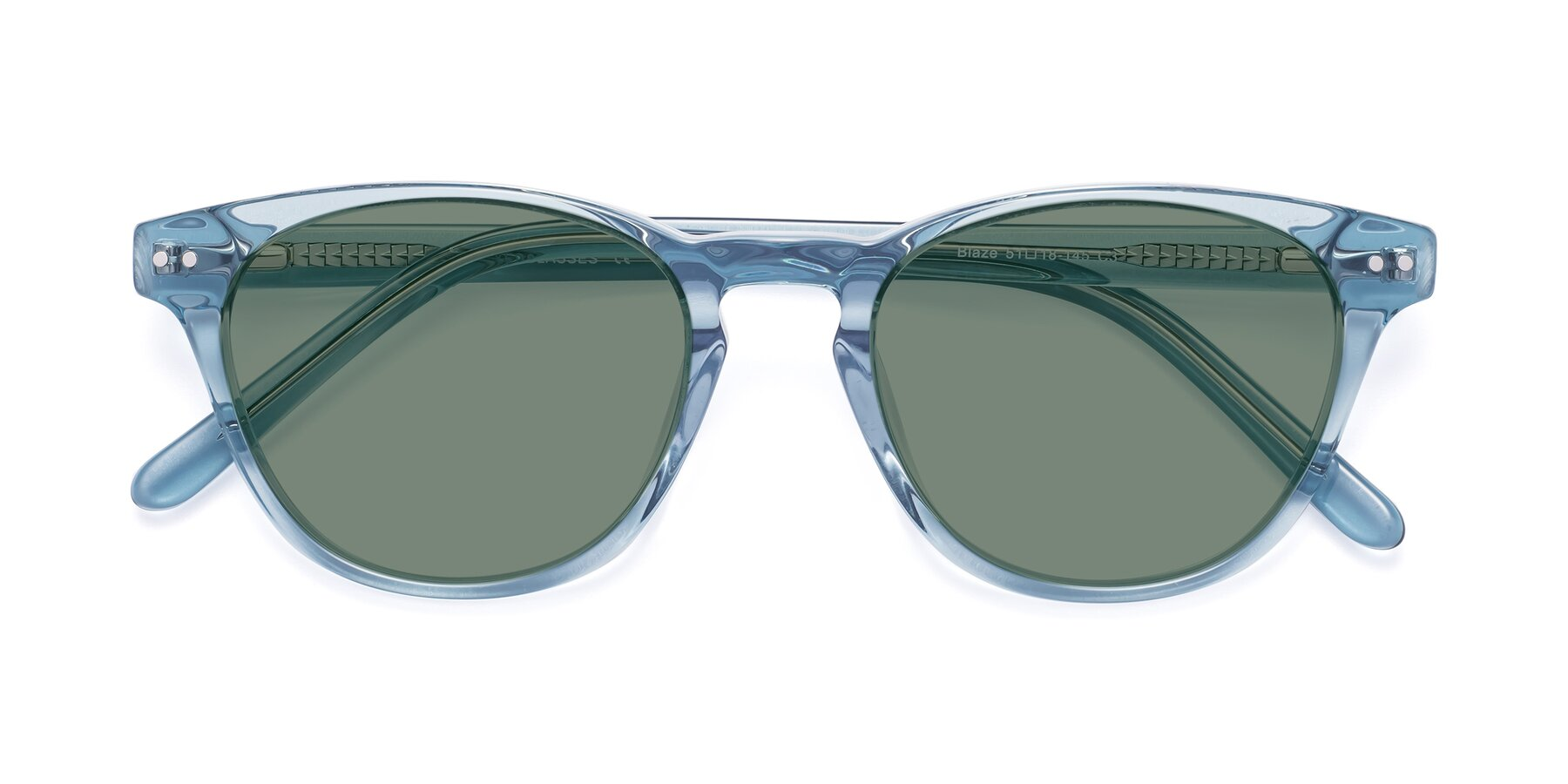 Folded Front of Blaze in Light Blue with Medium Green Tinted Lenses