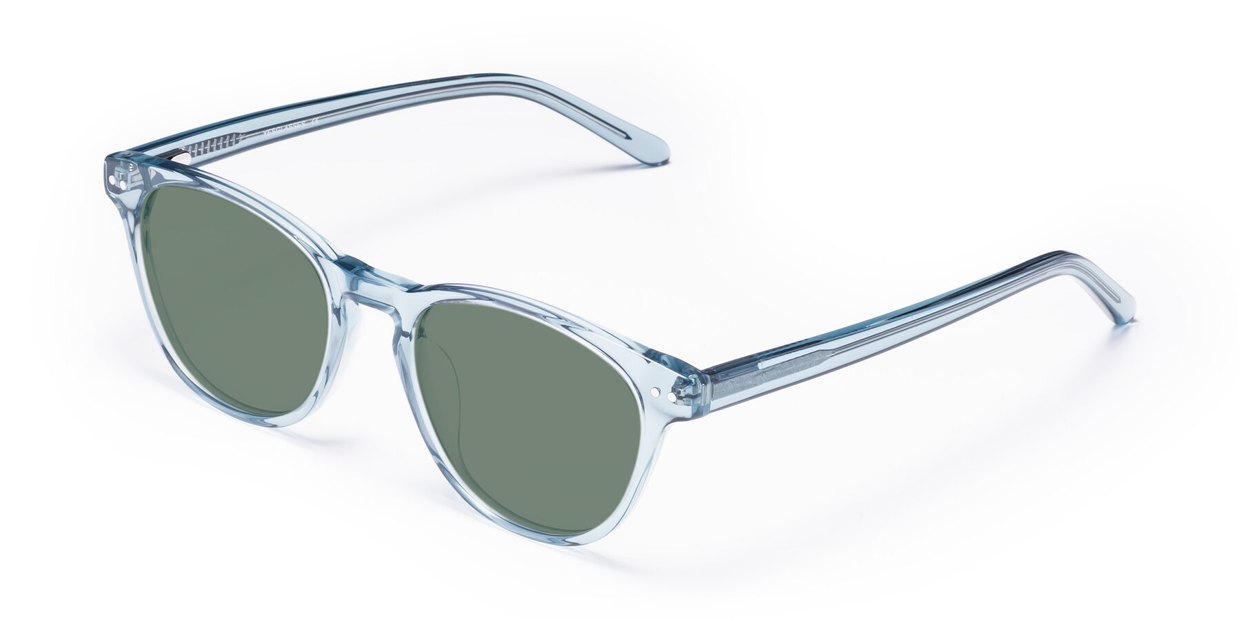 Angle of Blaze in Light Blue with Medium Green Tinted Lenses