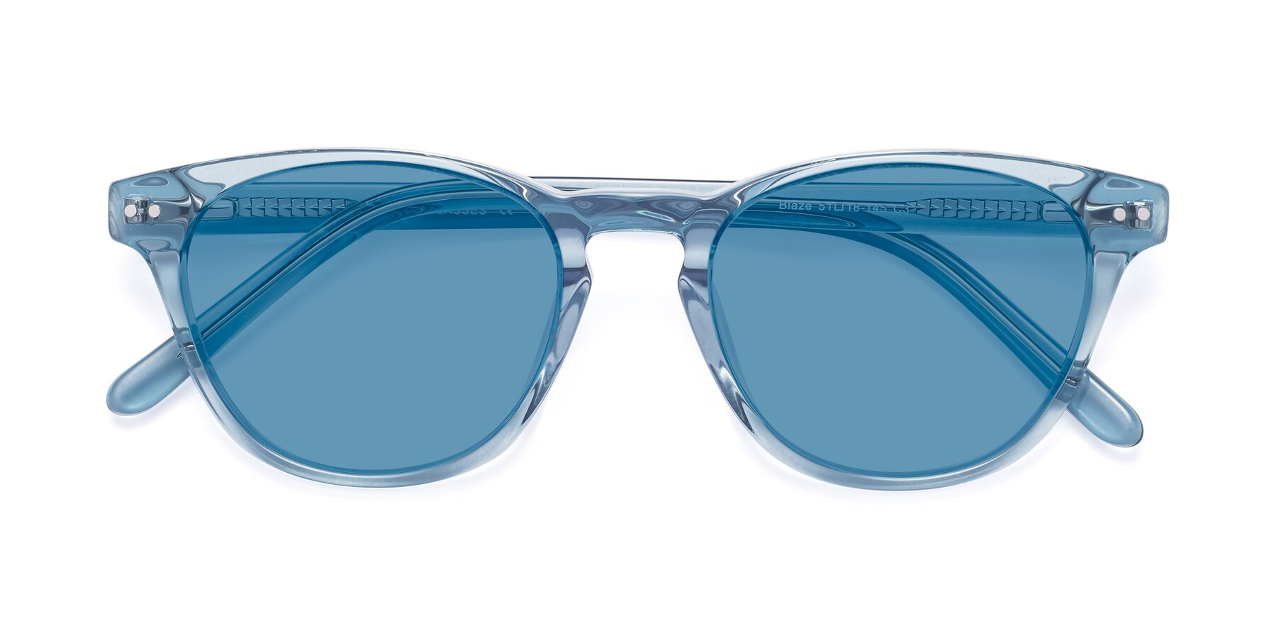 Folded Front of Blaze in Light Blue with Medium Blue Tinted Lenses