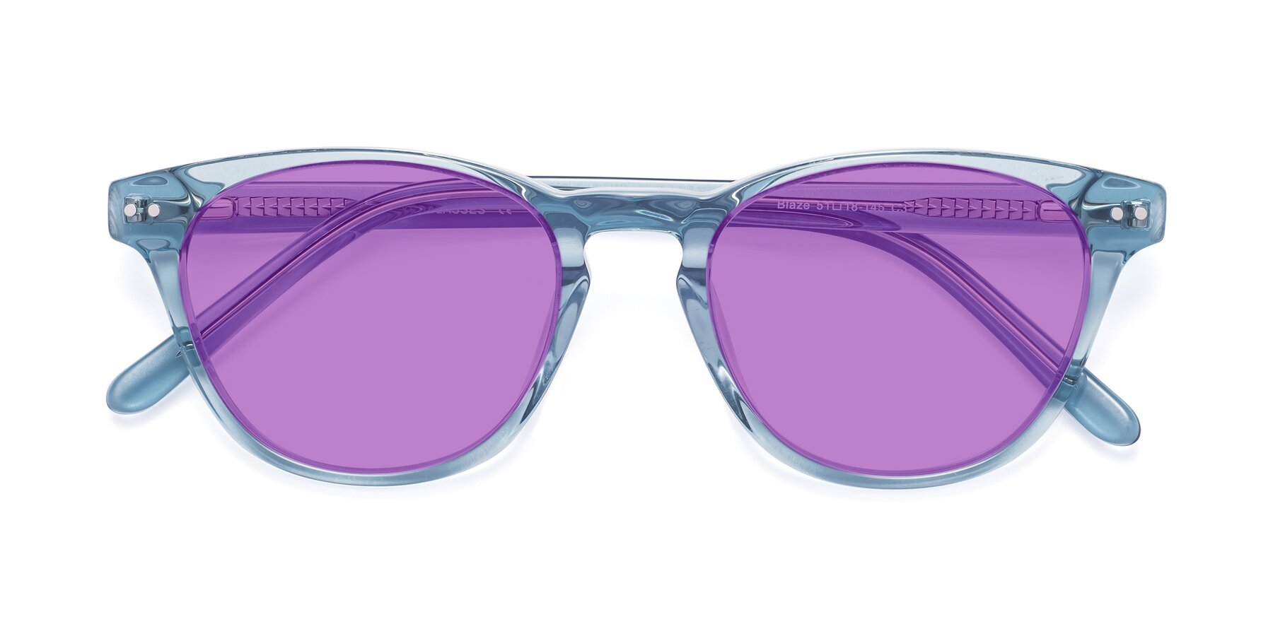 Folded Front of Blaze in Light Blue with Medium Purple Tinted Lenses