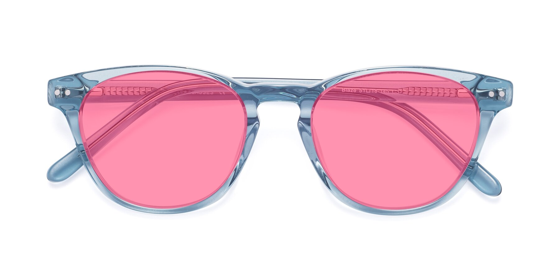 Folded Front of Blaze in Light Blue with Pink Tinted Lenses