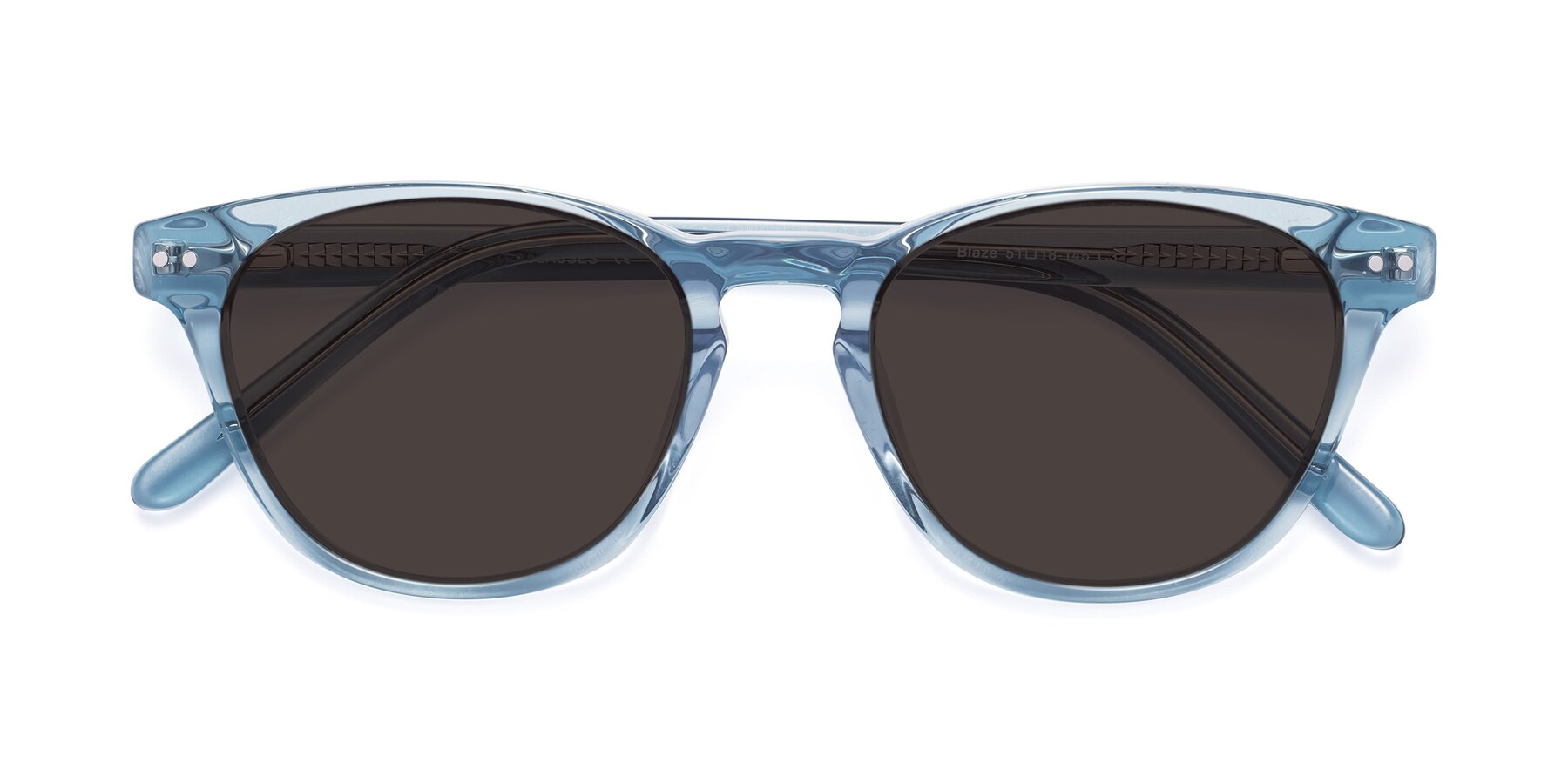Folded Front of Blaze in Light Blue with Gray Tinted Lenses