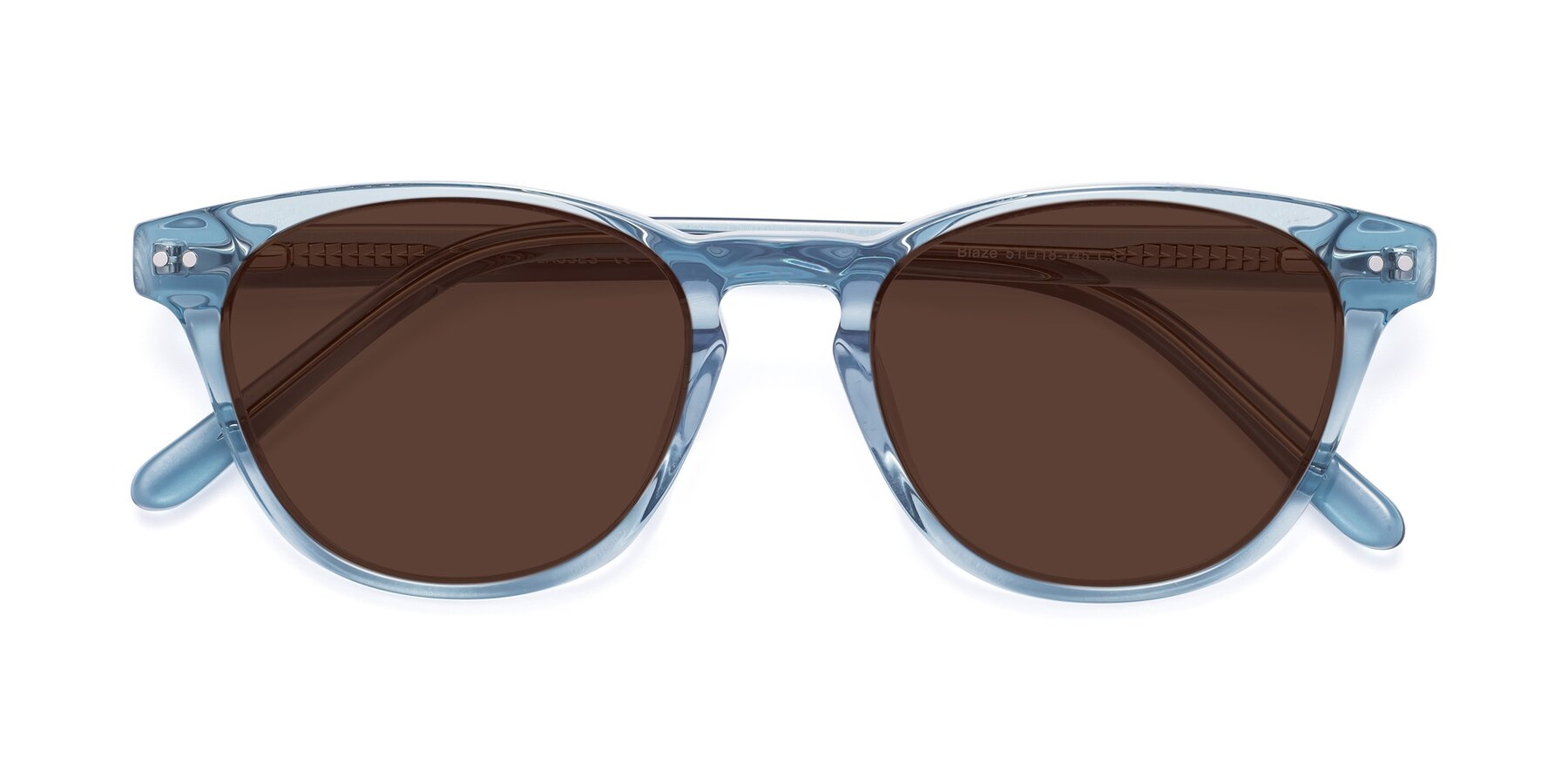 Folded Front of Blaze in Light Blue with Brown Tinted Lenses