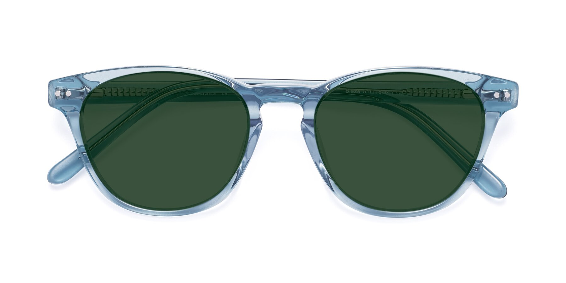 Folded Front of Blaze in Light Blue with Green Tinted Lenses