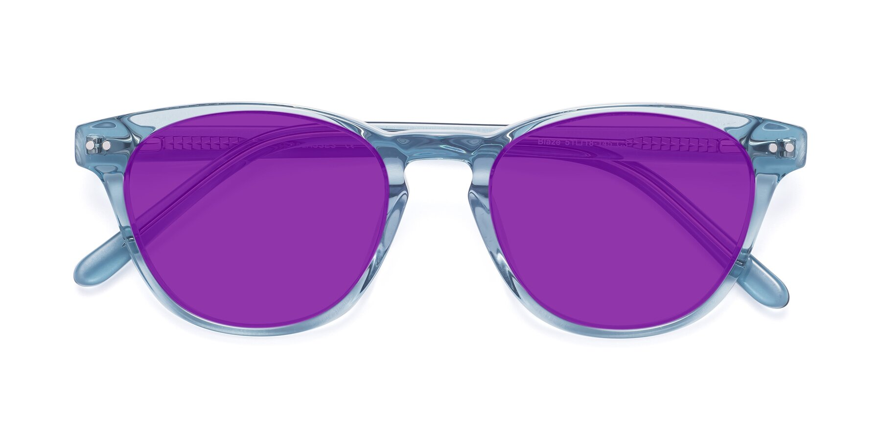 Folded Front of Blaze in Light Blue with Purple Tinted Lenses