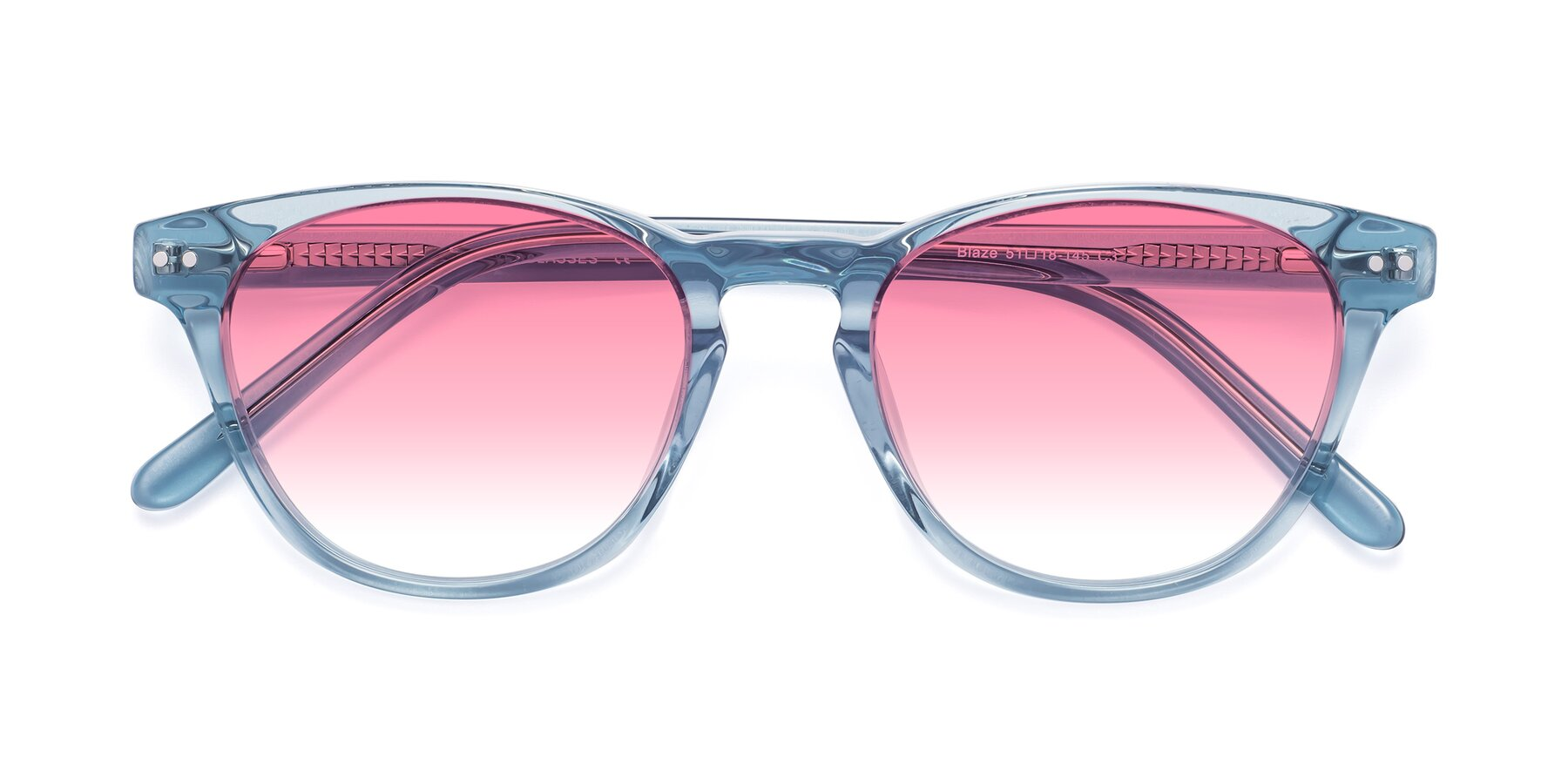Folded Front of Blaze in Light Blue with Pink Gradient Lenses
