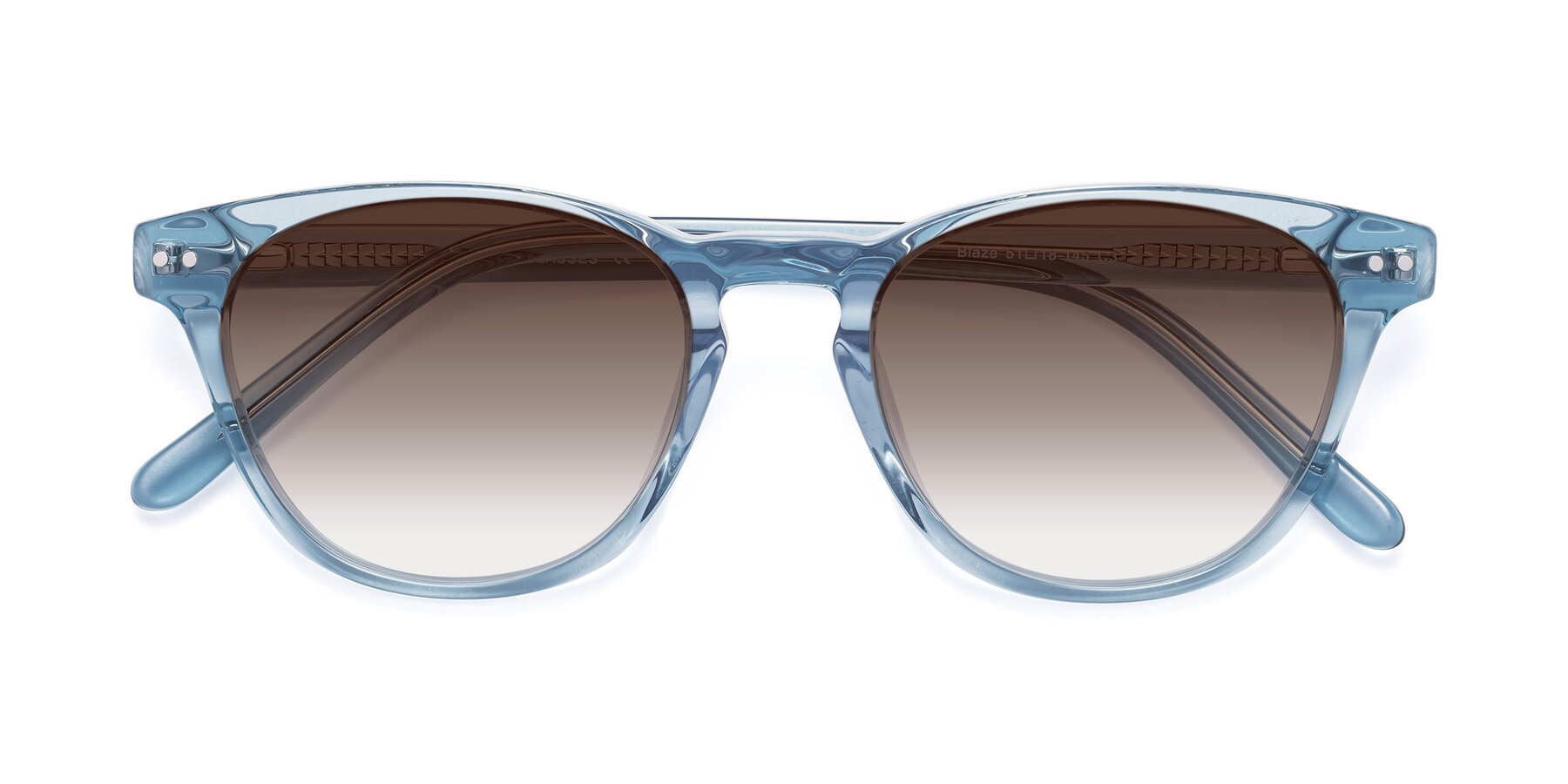 Folded Front of Blaze in Light Blue with Brown Gradient Lenses