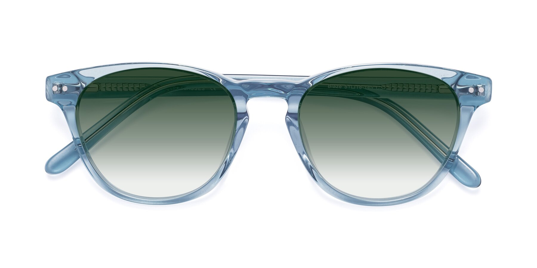 Folded Front of Blaze in Light Blue with Green Gradient Lenses
