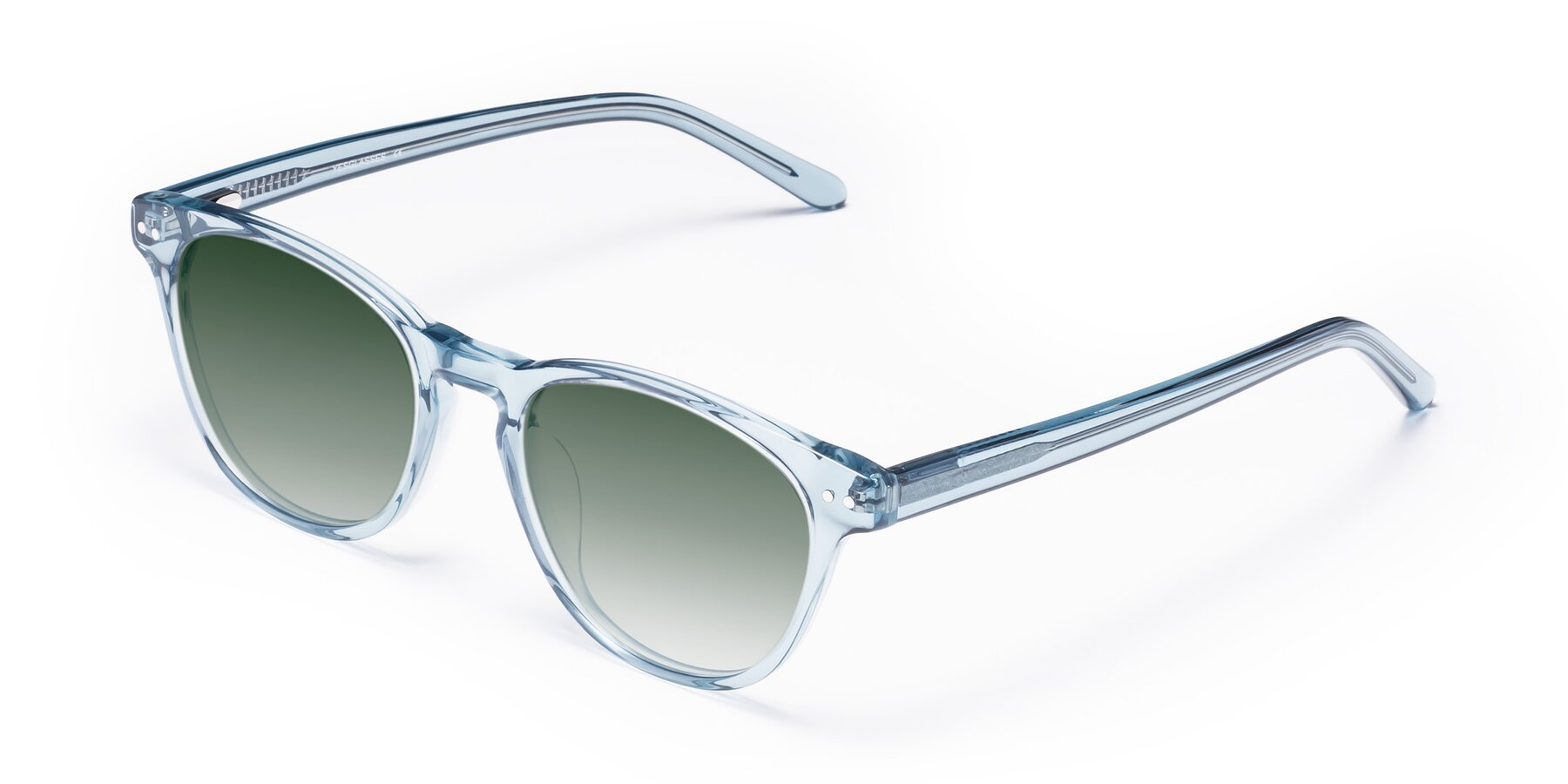 Angle of Blaze in Light Blue with Green Gradient Lenses
