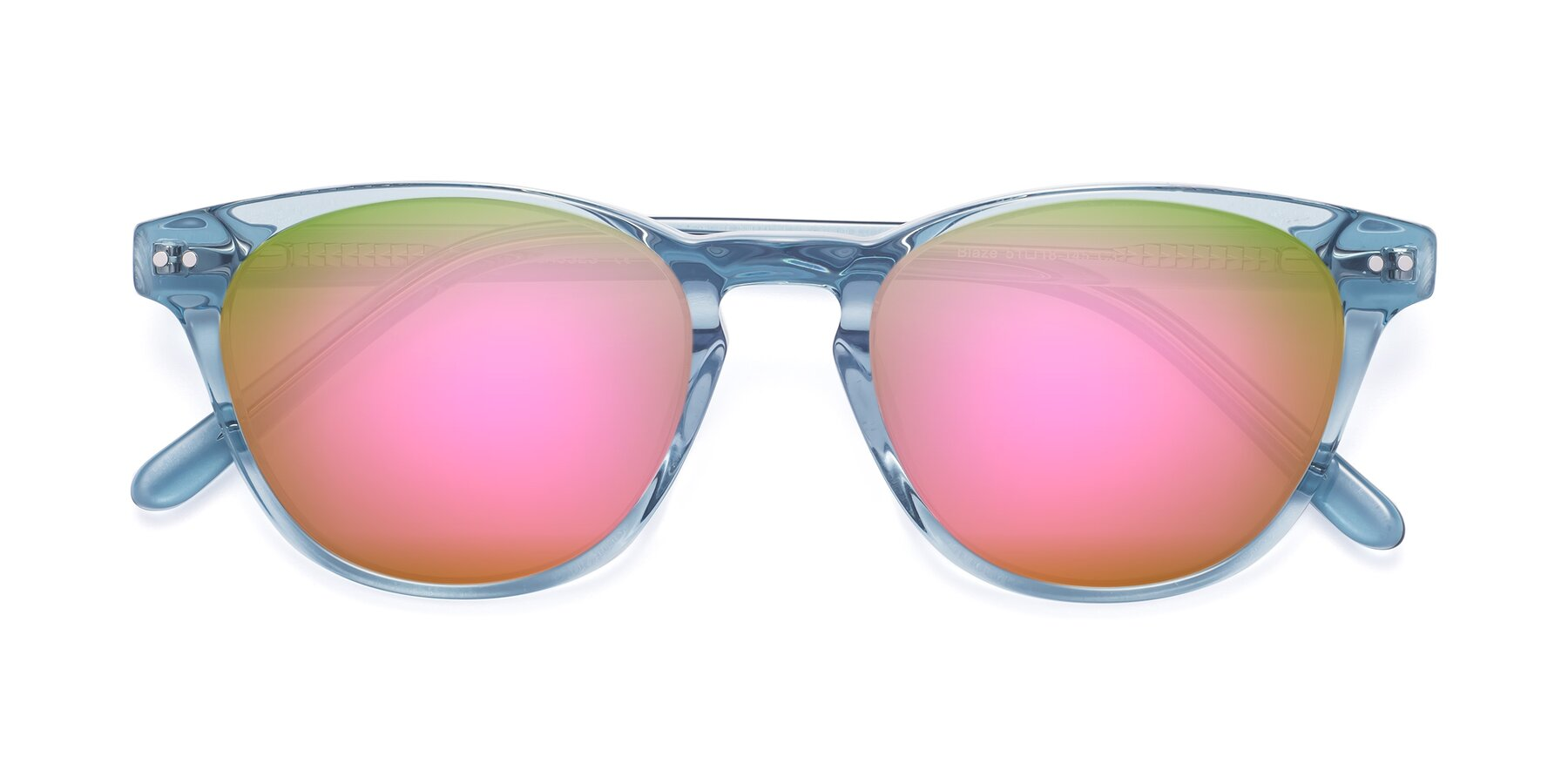 Folded Front of Blaze in Light Blue with Pink Mirrored Lenses