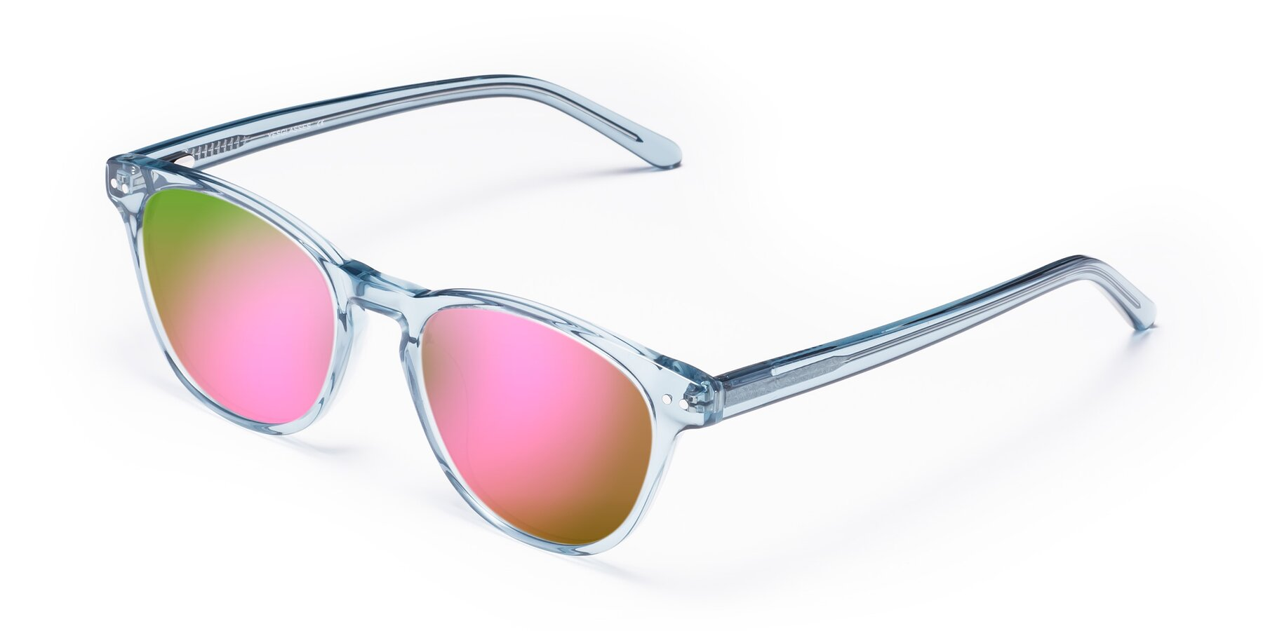 Angle of Blaze in Light Blue with Pink Mirrored Lenses