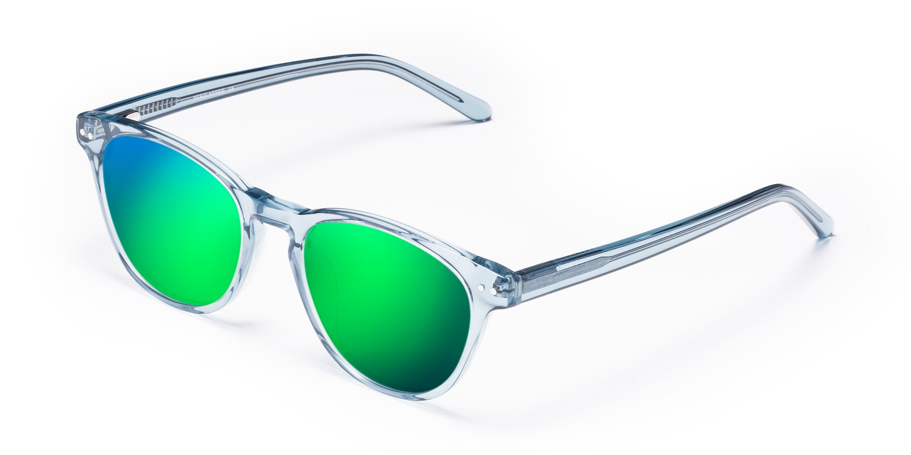 Angle of Blaze in Light Blue with Green Mirrored Lenses