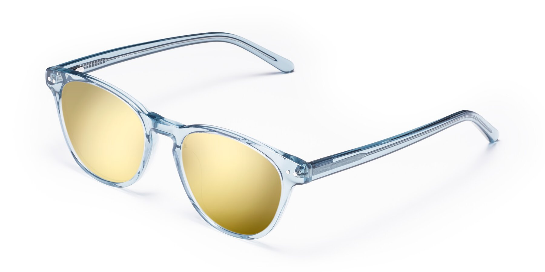 Angle of Blaze in Light Blue with Gold Mirrored Lenses