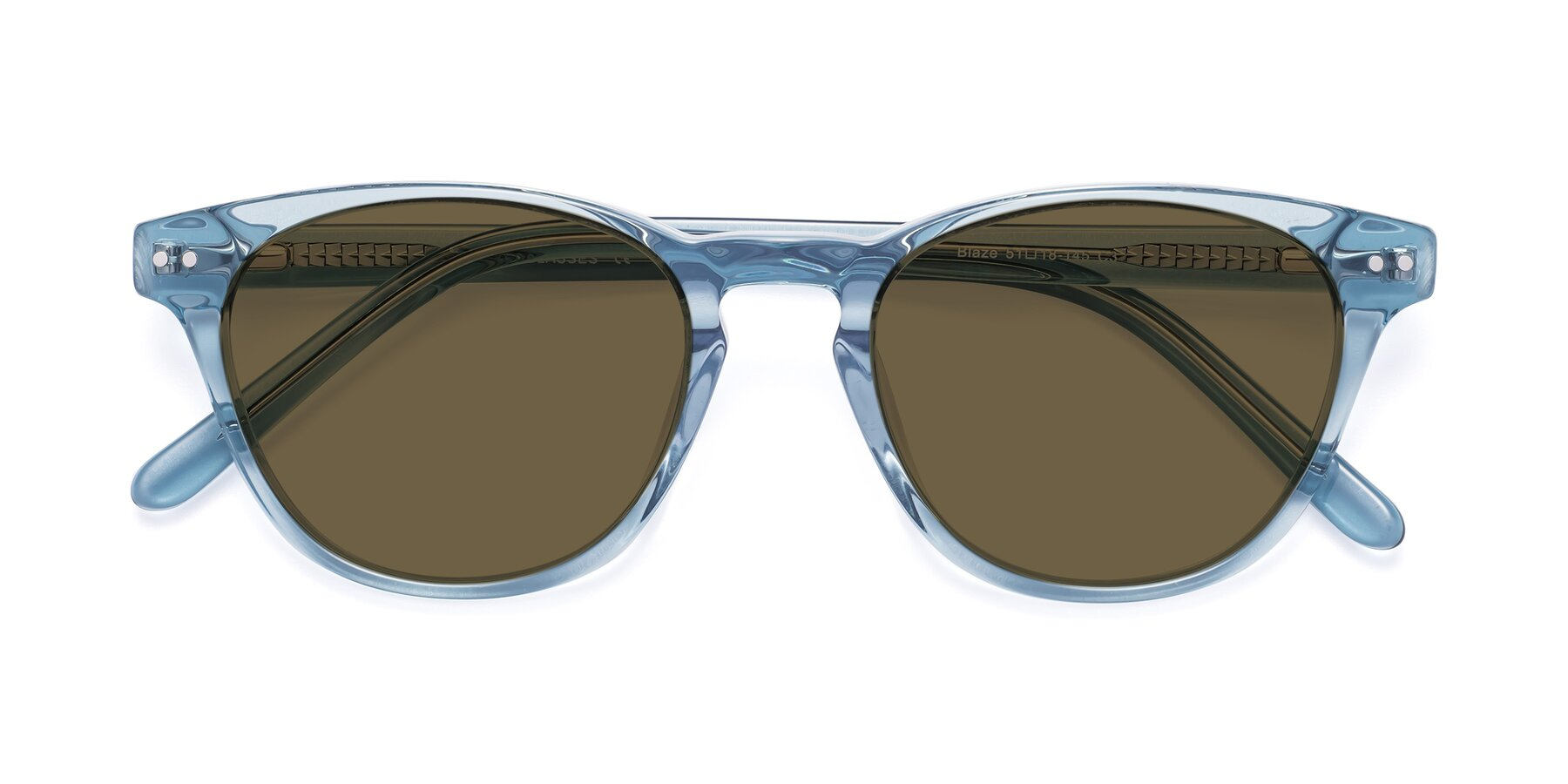 Folded Front of Blaze in Light Blue with Brown Polarized Lenses
