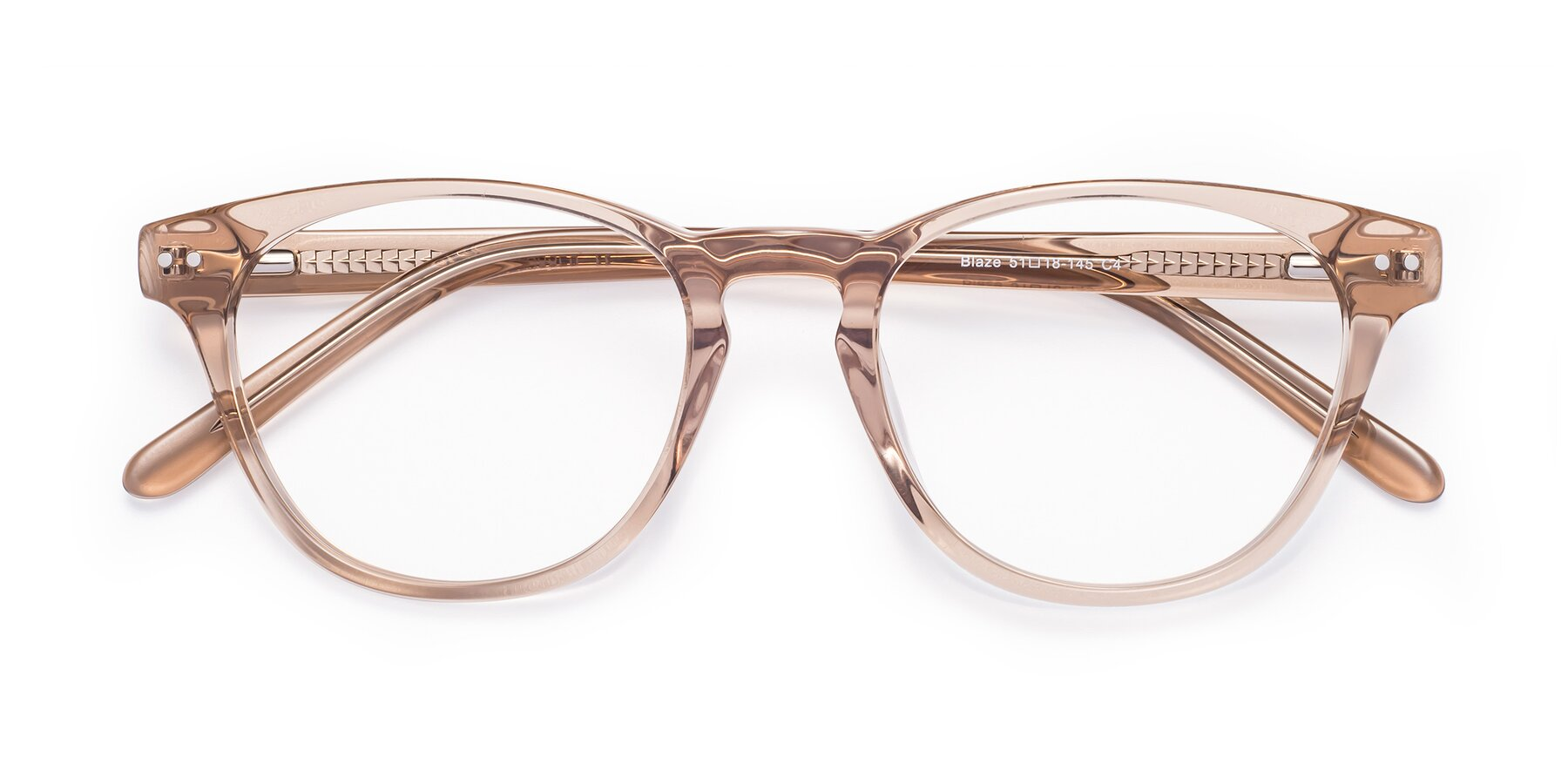 Folded Front of Blaze in light Brown with Clear Blue Light Blocking Lenses
