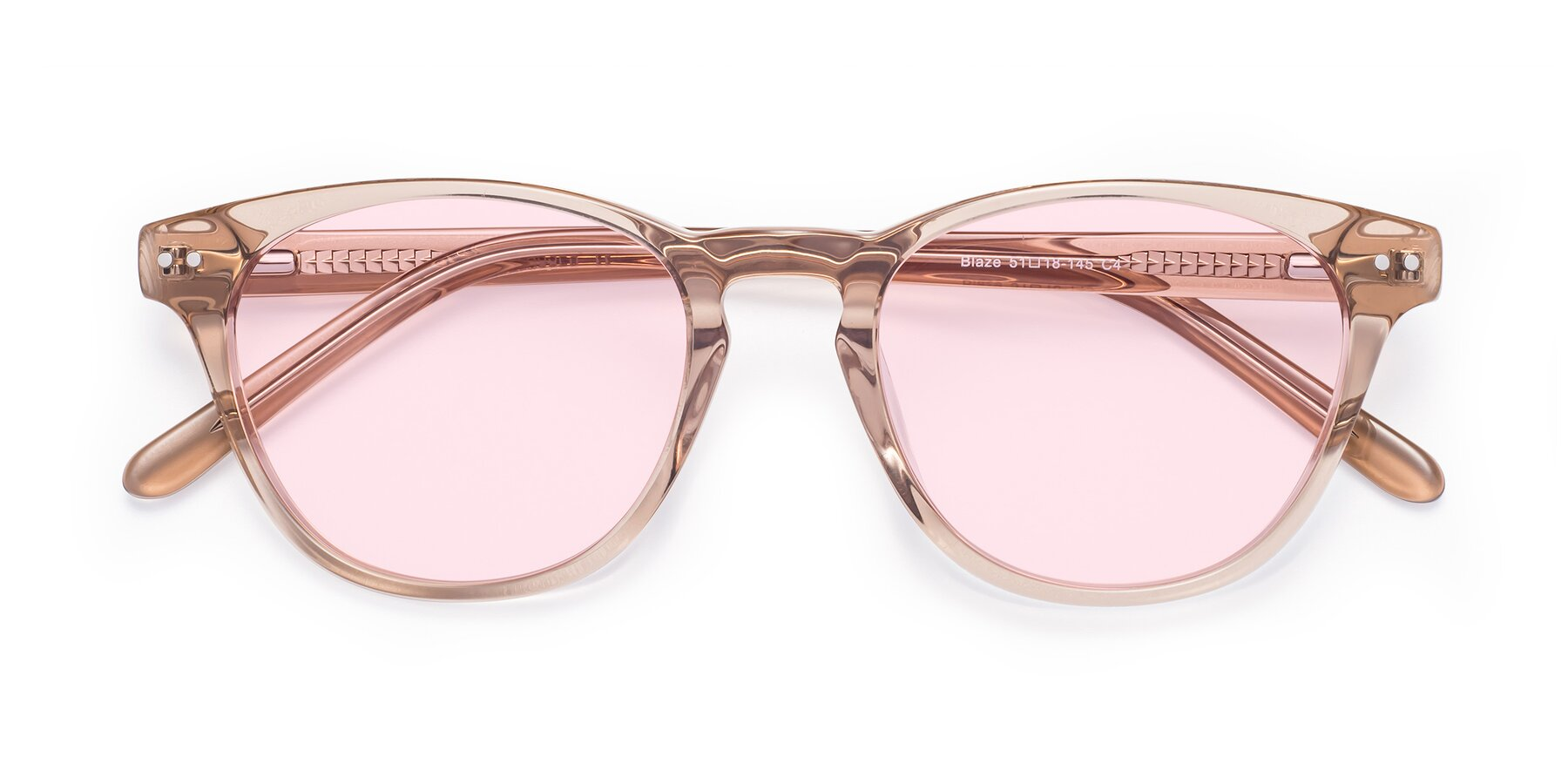 Folded Front of Blaze in light Brown with Light Pink Tinted Lenses