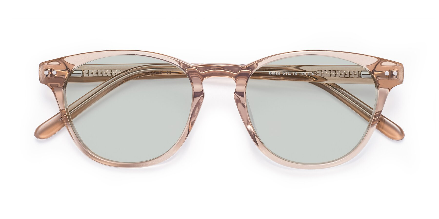 Folded Front of Blaze in light Brown with Light Green Tinted Lenses