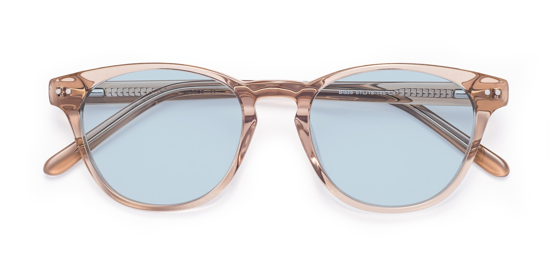 Folded Front of Blaze in light Brown with Light Blue Tinted Lenses