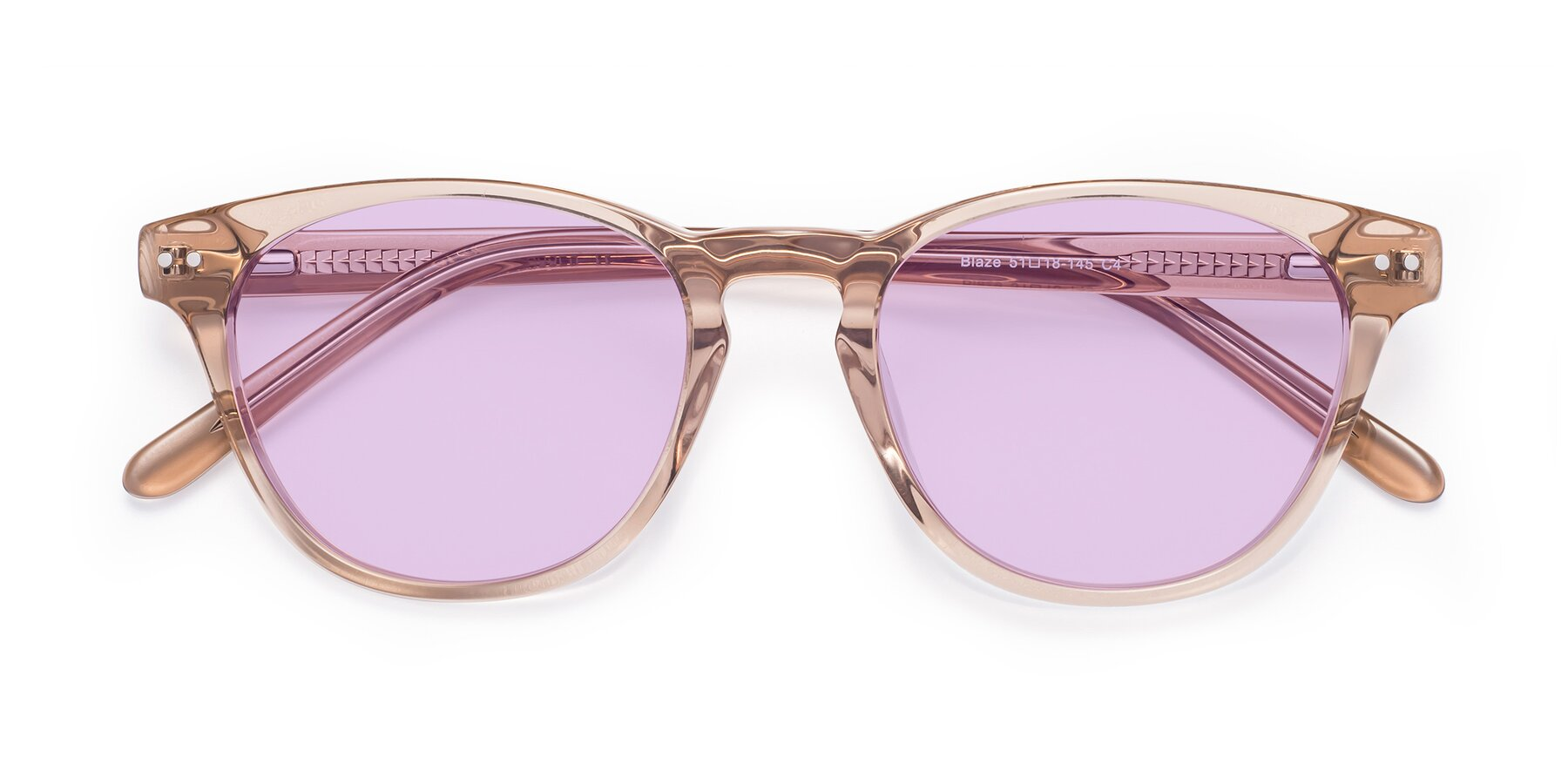 Folded Front of Blaze in light Brown with Light Purple Tinted Lenses