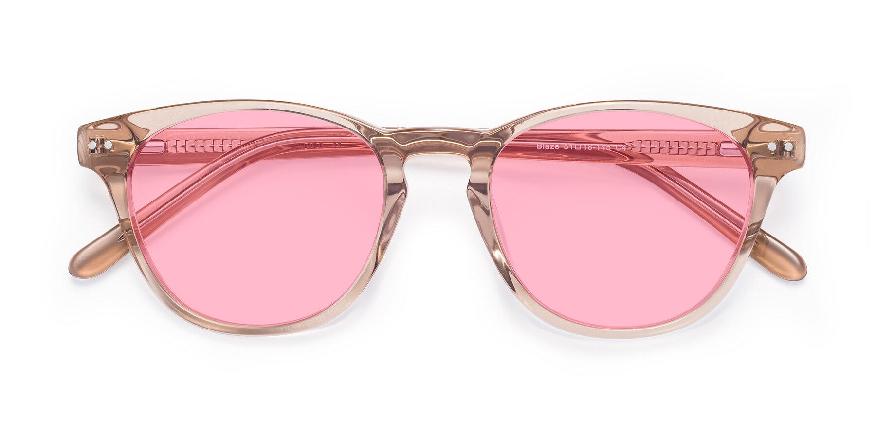 Folded Front of Blaze in light Brown with Medium Pink Tinted Lenses