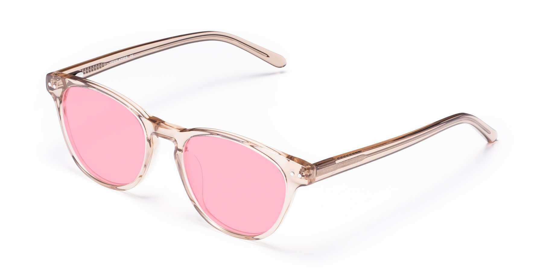 Angle of Blaze in light Brown with Medium Pink Tinted Lenses
