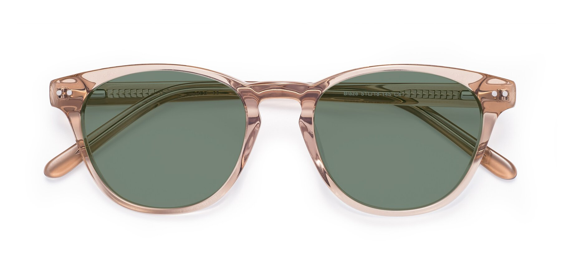Folded Front of Blaze in light Brown with Medium Green Tinted Lenses